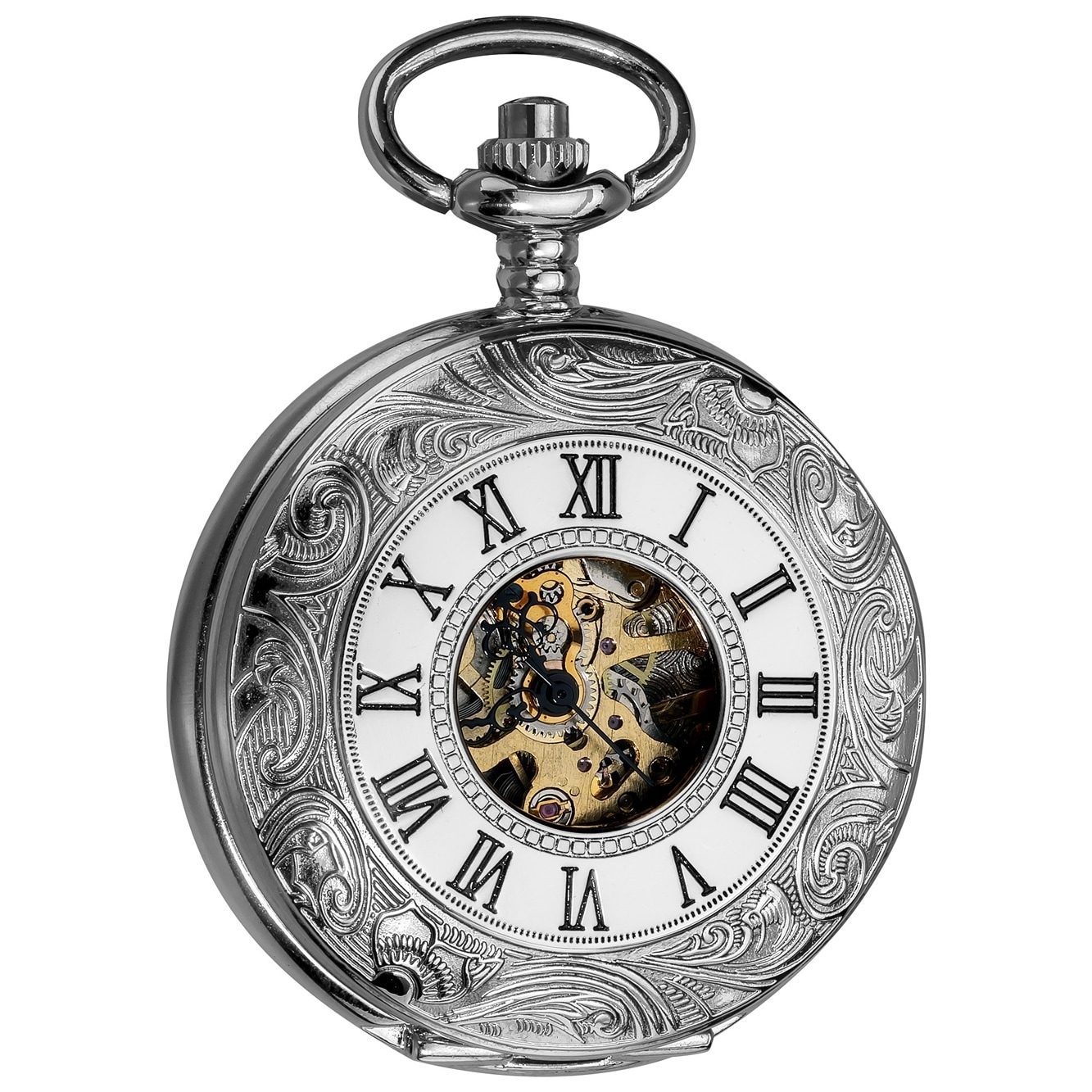 a60a25bd5 Shop Akribos XXIV Men's Antique Mechanical Skeleton Chain Pocket Watch - On  Sale - Free Shipping Today - Overstock - 8091113