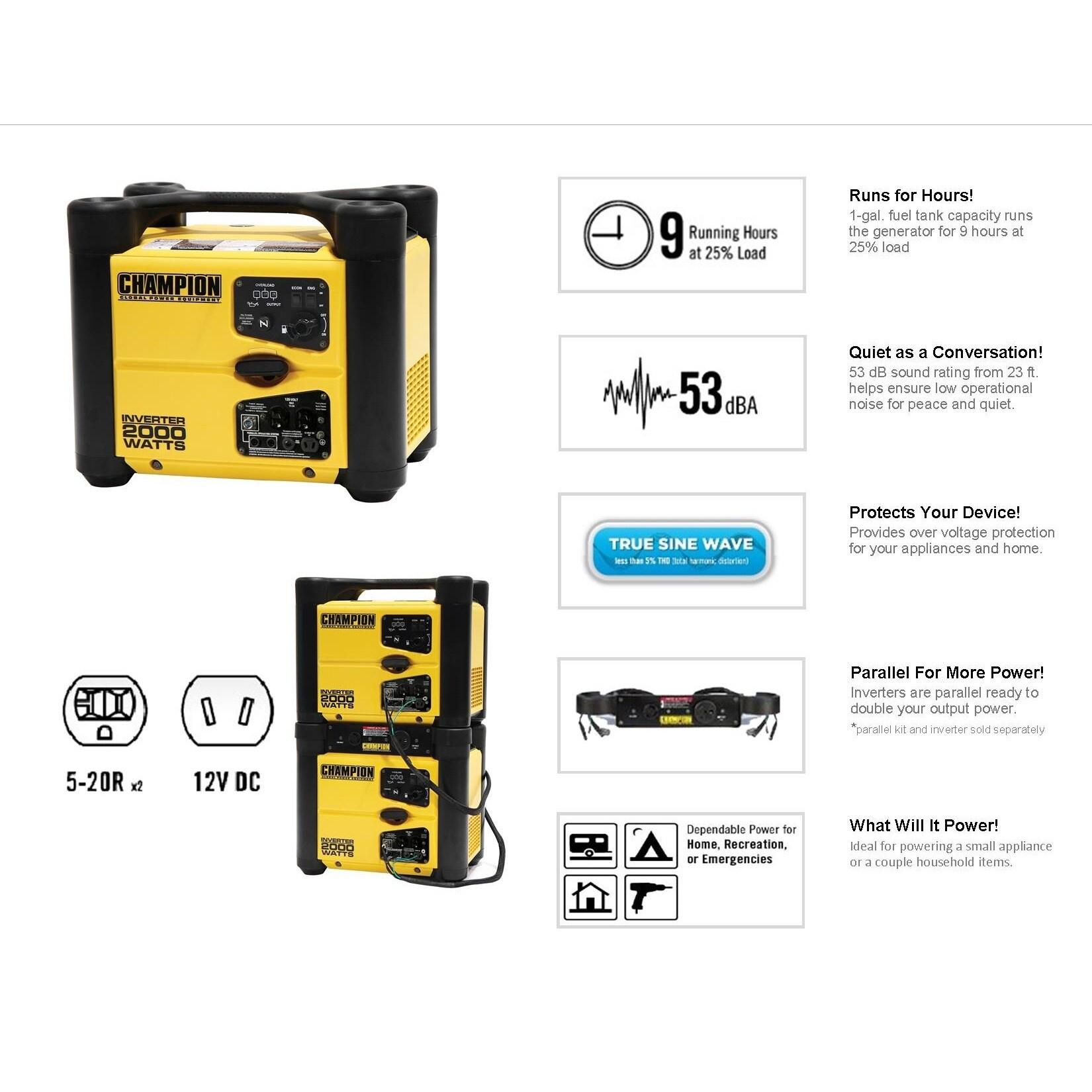 Shop Champion 2000 Watt Stackable Portable Inverter Generator Free