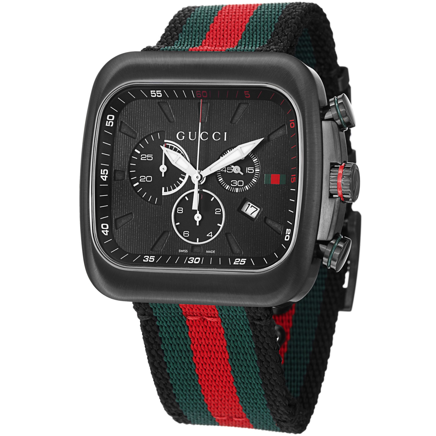 6c395c9a489 Shop Gucci Men s YA131202  Coupe  Black Dial Nylon Strap Chronograph Watch  - Free Shipping Today - Overstock - 8096211