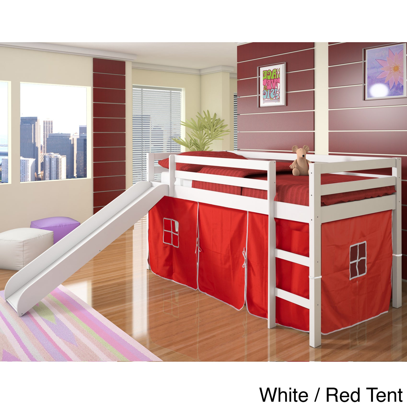 Donco Kids Twin-size Tent Loft Bed with Slide - Free Shipping Today - Overstock.com - 15450130  sc 1 st  Overstock.com : bunk bed with tent and slide - memphite.com
