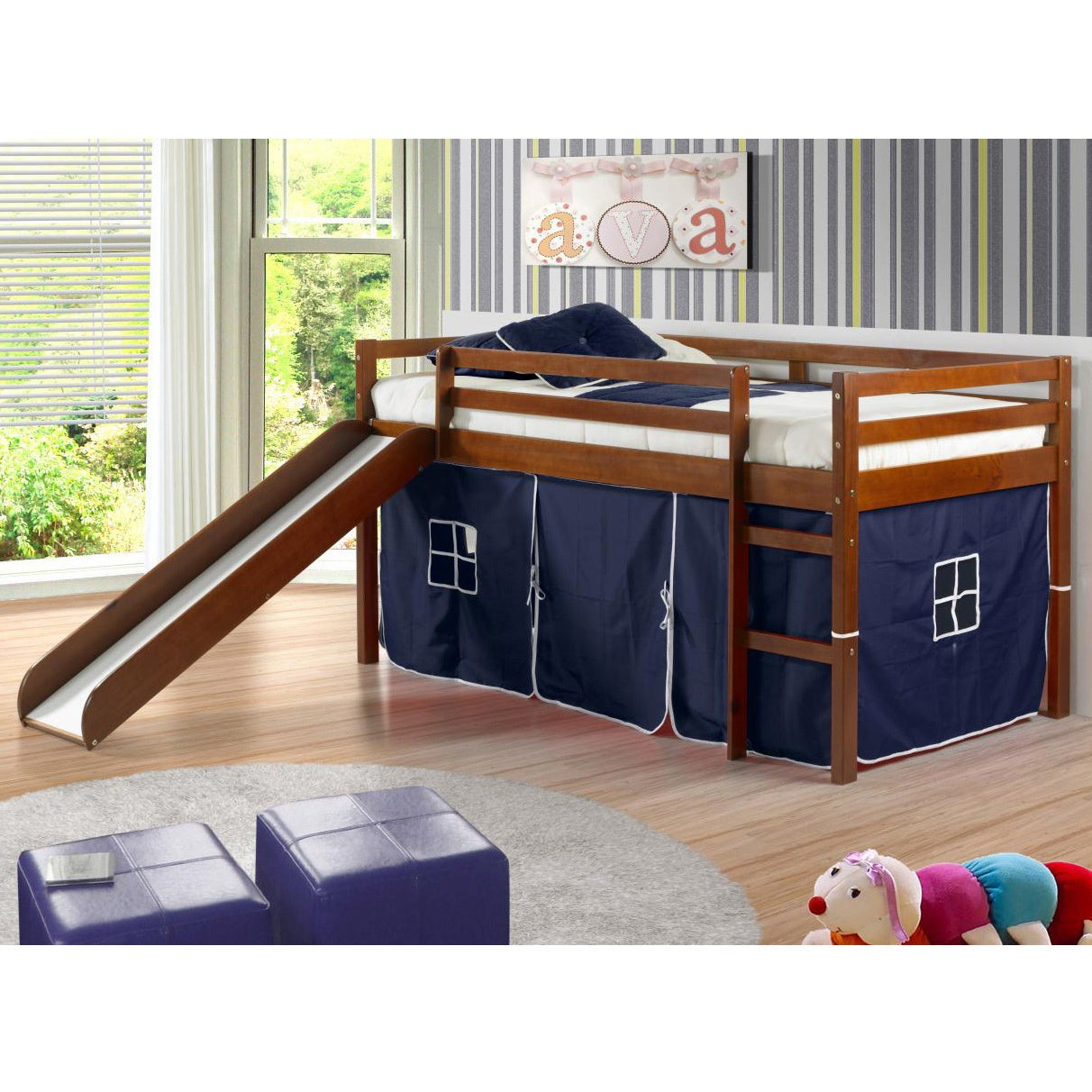 Shop Donco Kids Twin size Tent Loft Bed with Slide   Free Shipping