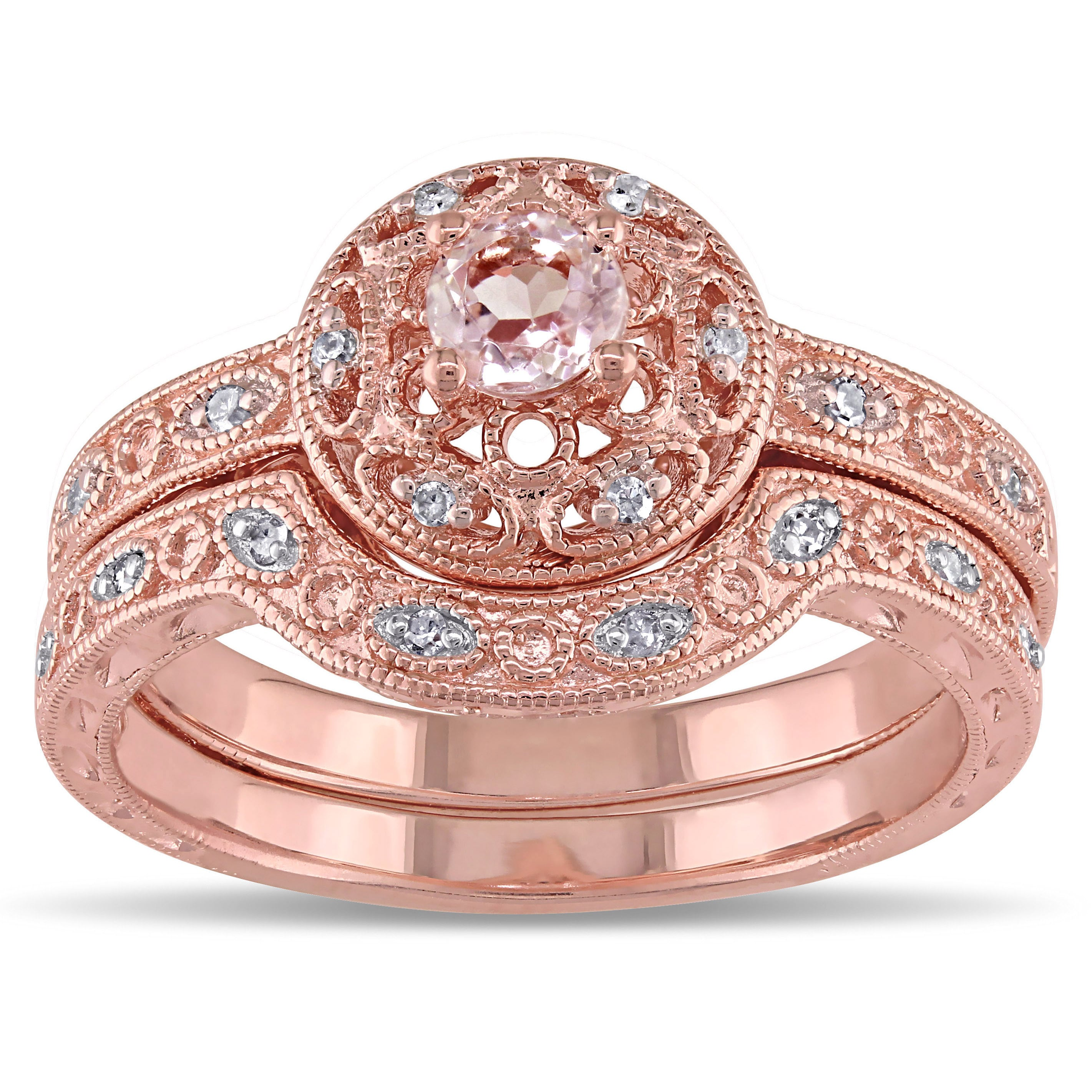 Shop Miadora Rose-plated Silver Morganite and 1/10ct TDW Diamond ...