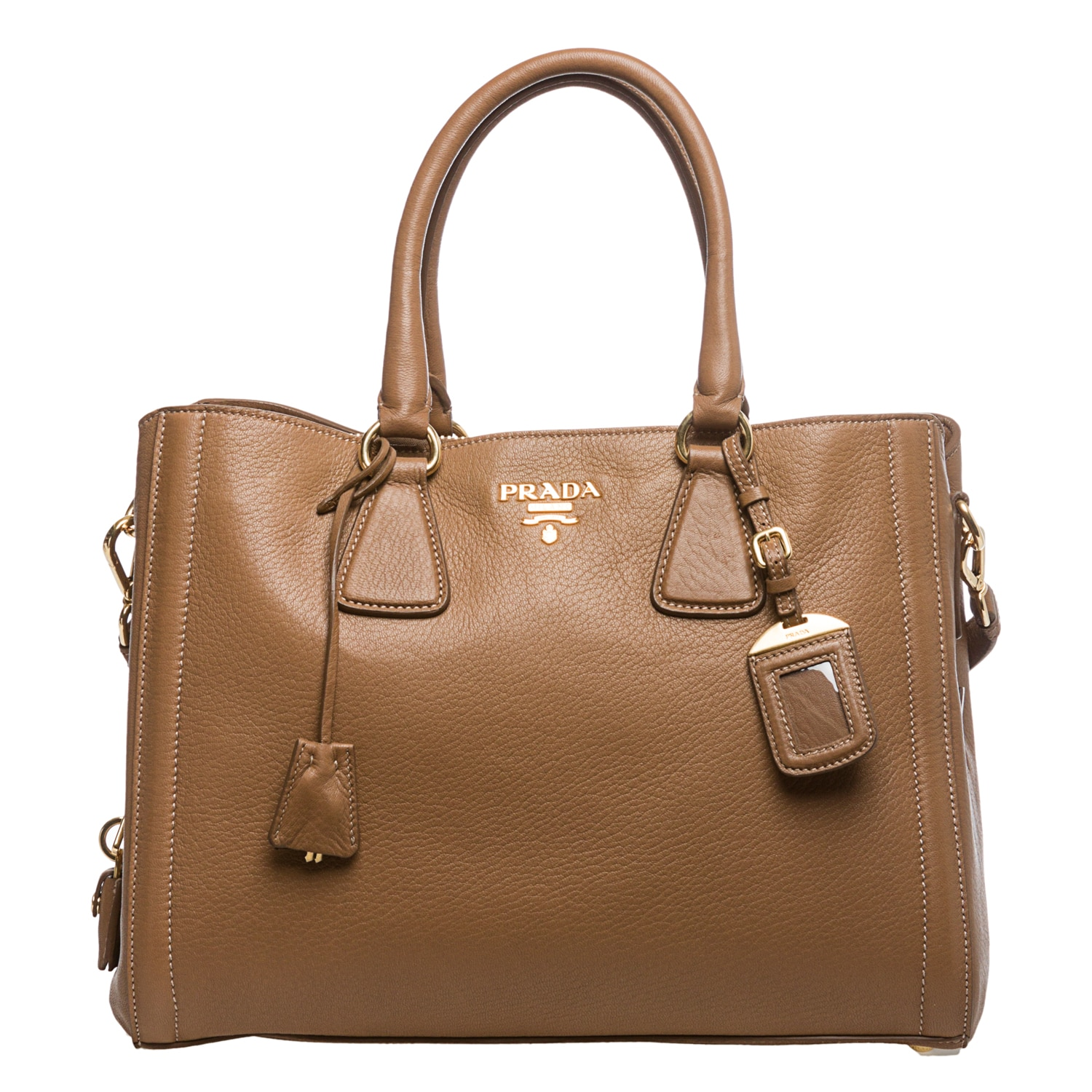 f78278bcc51b ... inexpensive shop prada cervo camel leather center zip tote free  shipping today overstock 8101783 2d78a d581f