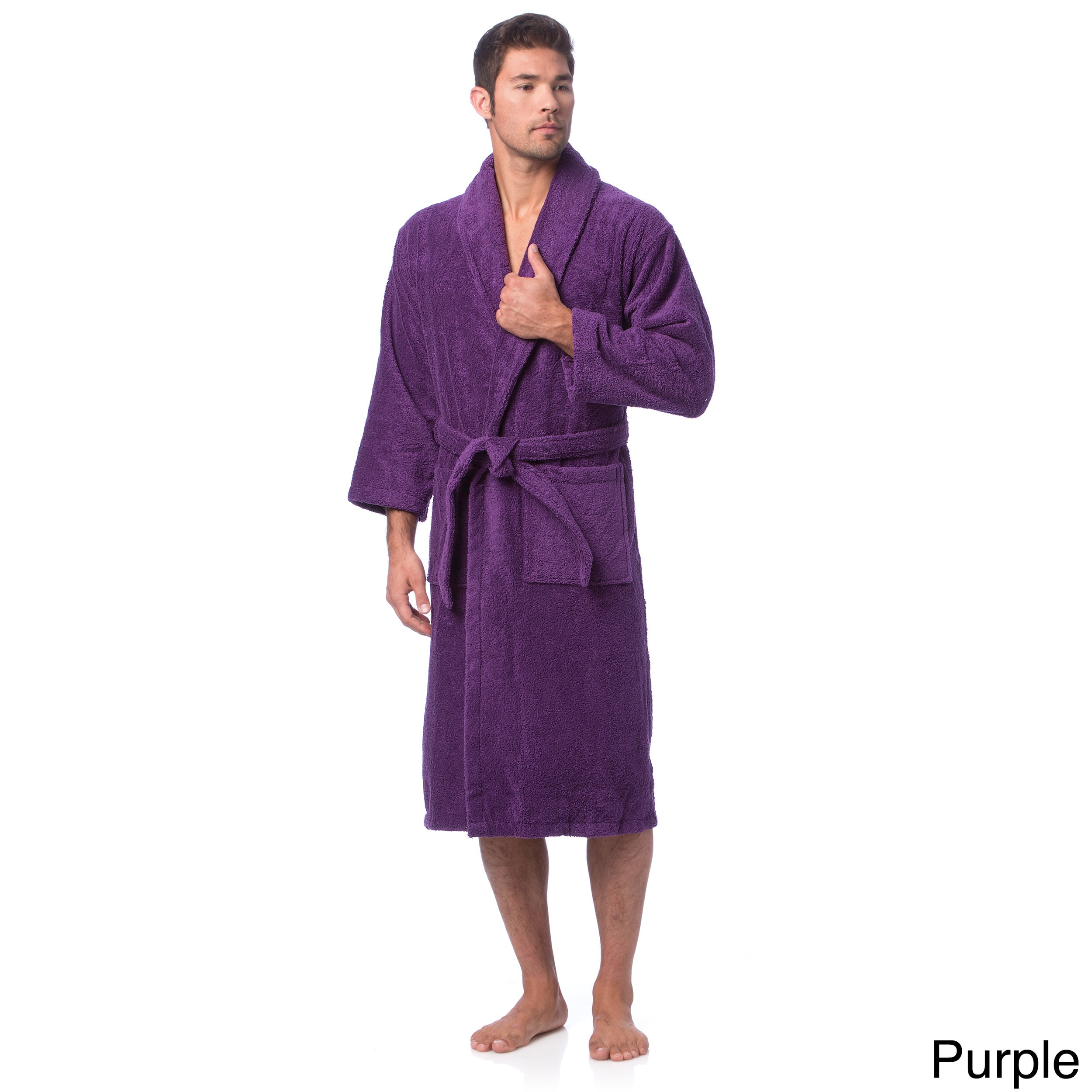 849f172420 Shop Classic Turkish Cotton Towel Thick Luxurious Shawl Collar Bathrobe -  On Sale - Free Shipping Today - Overstock - 8104357