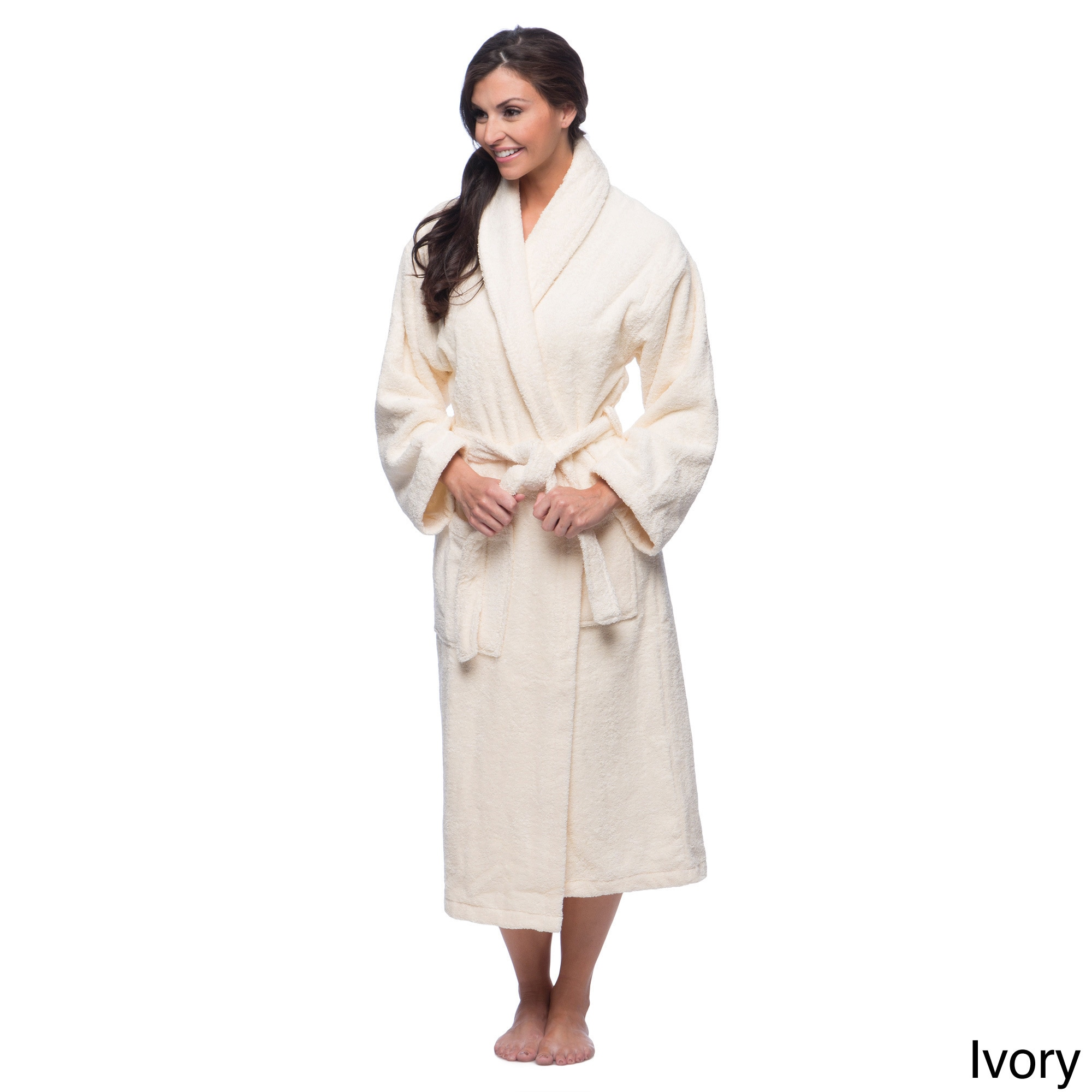 91c393f8ef Shop Classic Turkish Cotton Towel Thick Luxurious Shawl Collar Bathrobe -  Free Shipping Today - Overstock - 8104357