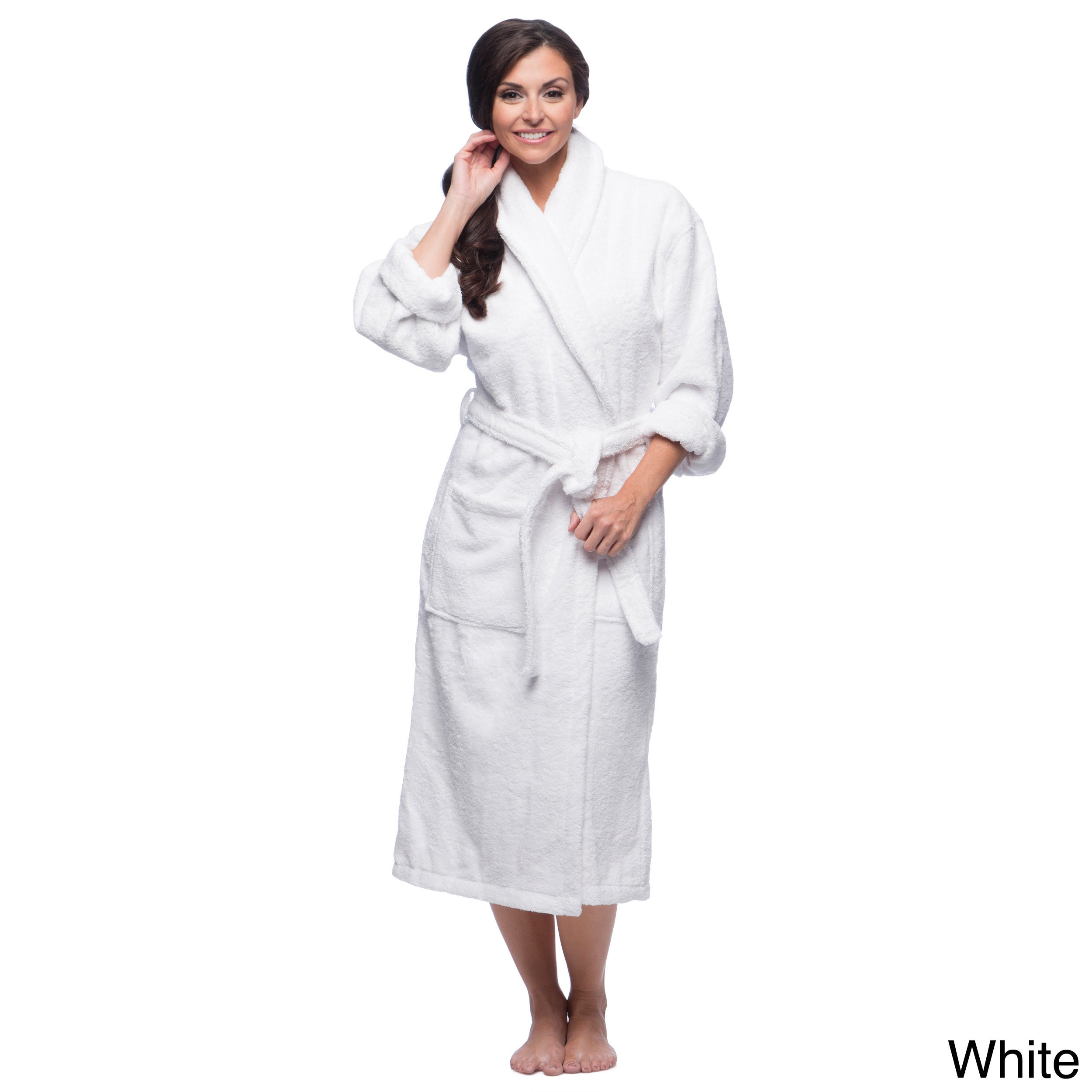 Shop Classic Turkish Cotton Towel Thick Luxurious Shawl Collar Bathrobe -  Free Shipping Today - Overstock - 8104357 4cbf54006