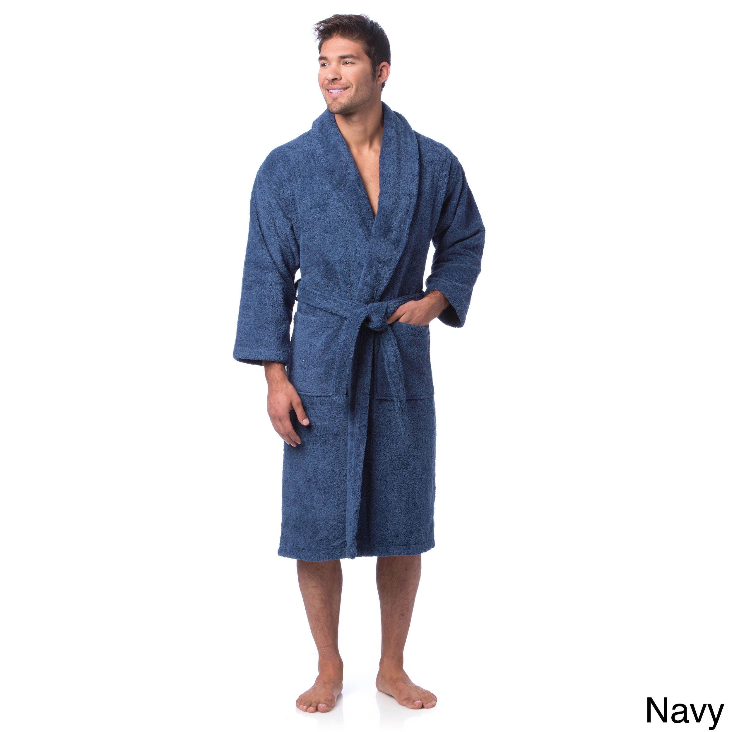 Shop Classic Turkish Cotton Towel Thick Luxurious Shawl Collar Bathrobe -  Free Shipping Today - Overstock - 8104357 141bfbffc