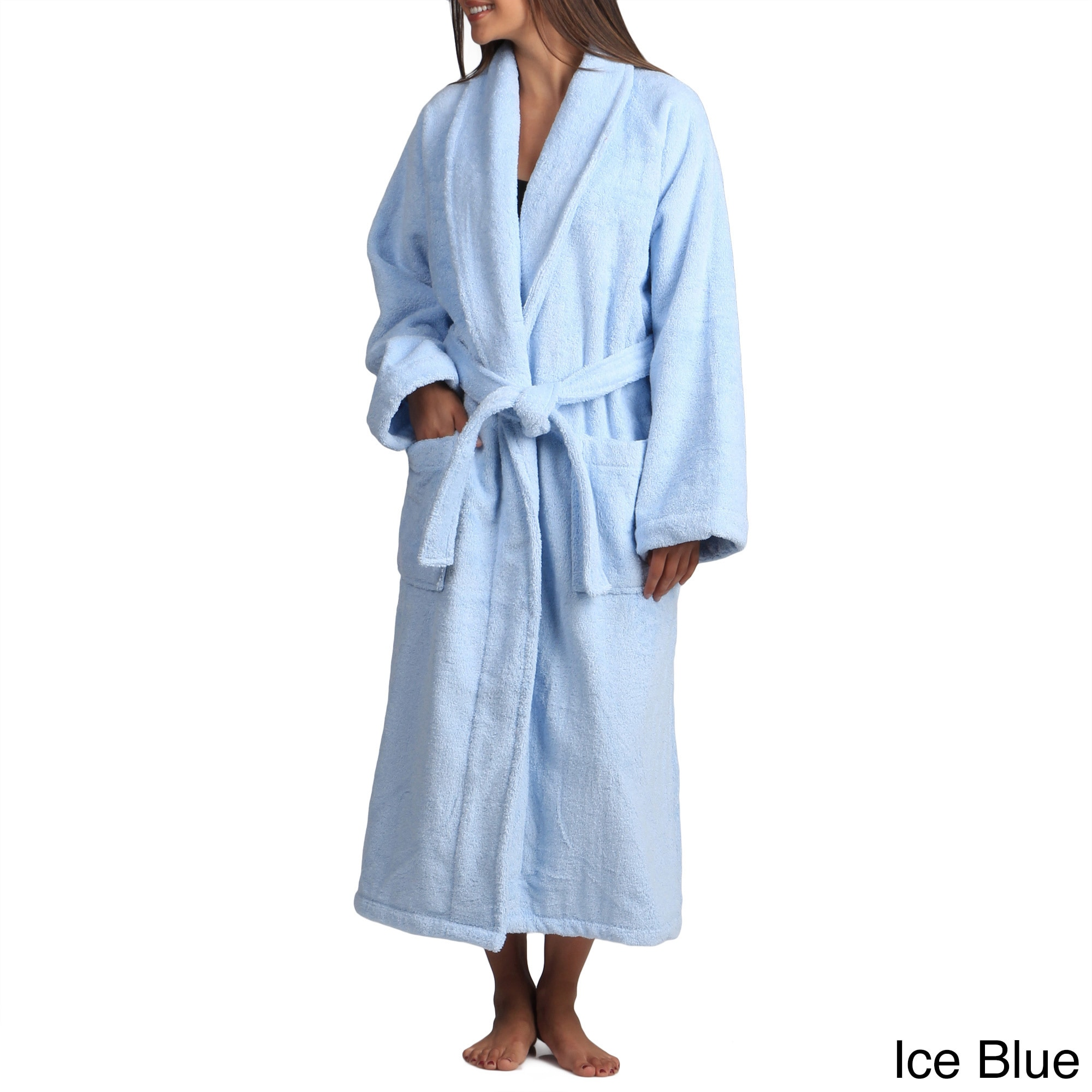 Shop Classic Turkish Cotton Towel Thick Luxurious Shawl Collar Bathrobe -  Free Shipping Today - Overstock - 8104357 43a25cea2