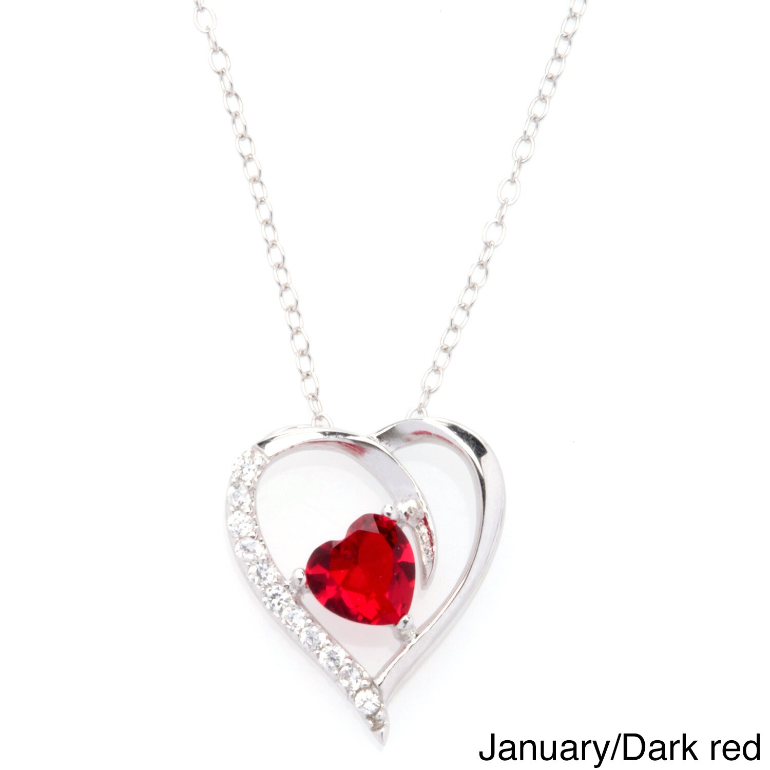 76e58ebc4a3 Shop Fremada Rhodium Plated Silver Cubic Zirconia Heart Birthstone Necklace  - On Sale - Free Shipping On Orders Over  45 - Overstock - 8108471