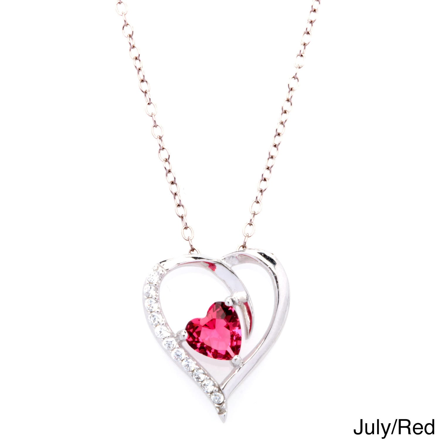 Fremada Rhodium Plated Silver Cubic Zirconia Heart Birthstone Necklace -  Free Shipping On Orders Over $45 - Overstock.com - 15457393