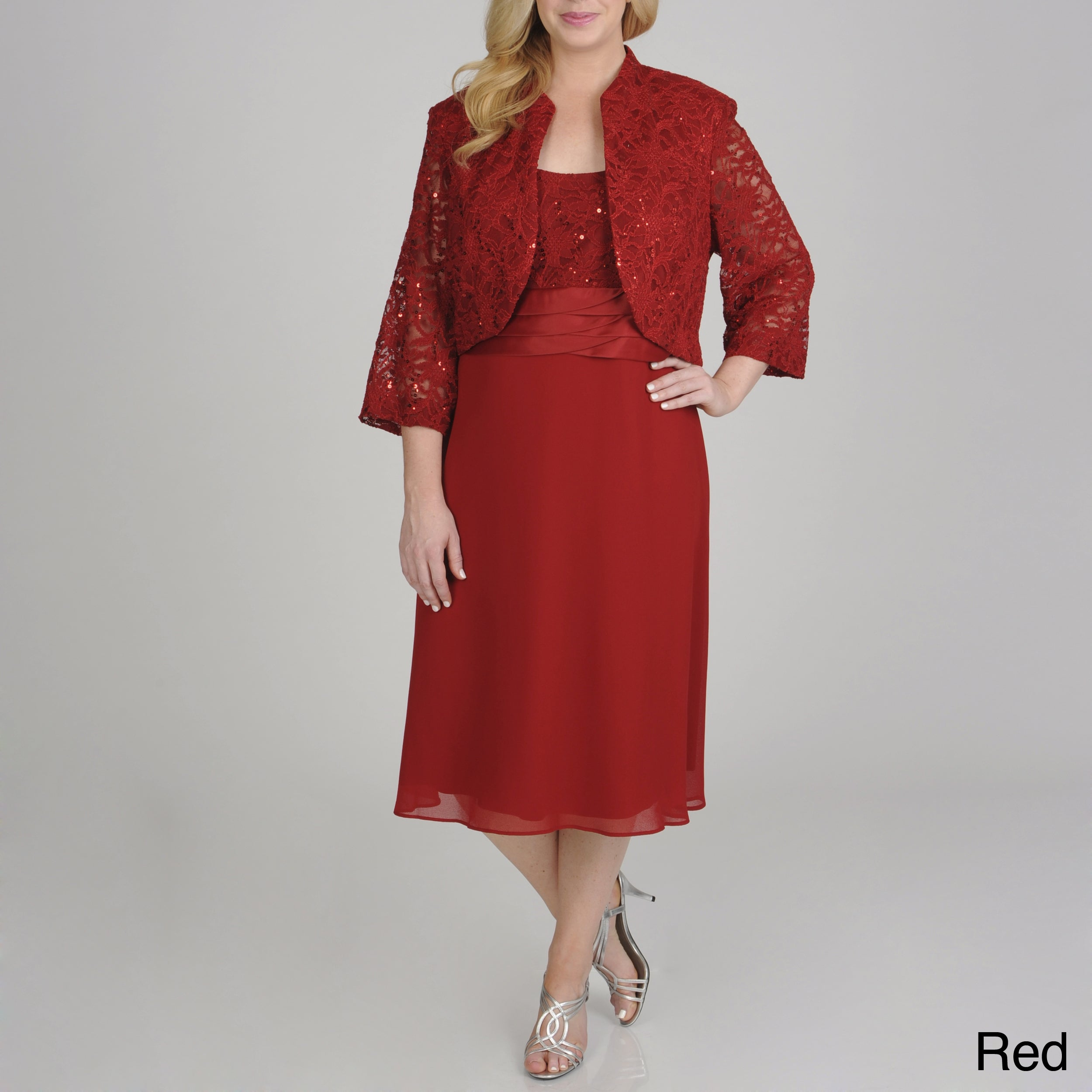eb1b10847204f Shop R   M Richards Plus Size Sequin Lace 2-piece Jacket Dress - Free  Shipping Today - Overstock - 8110228