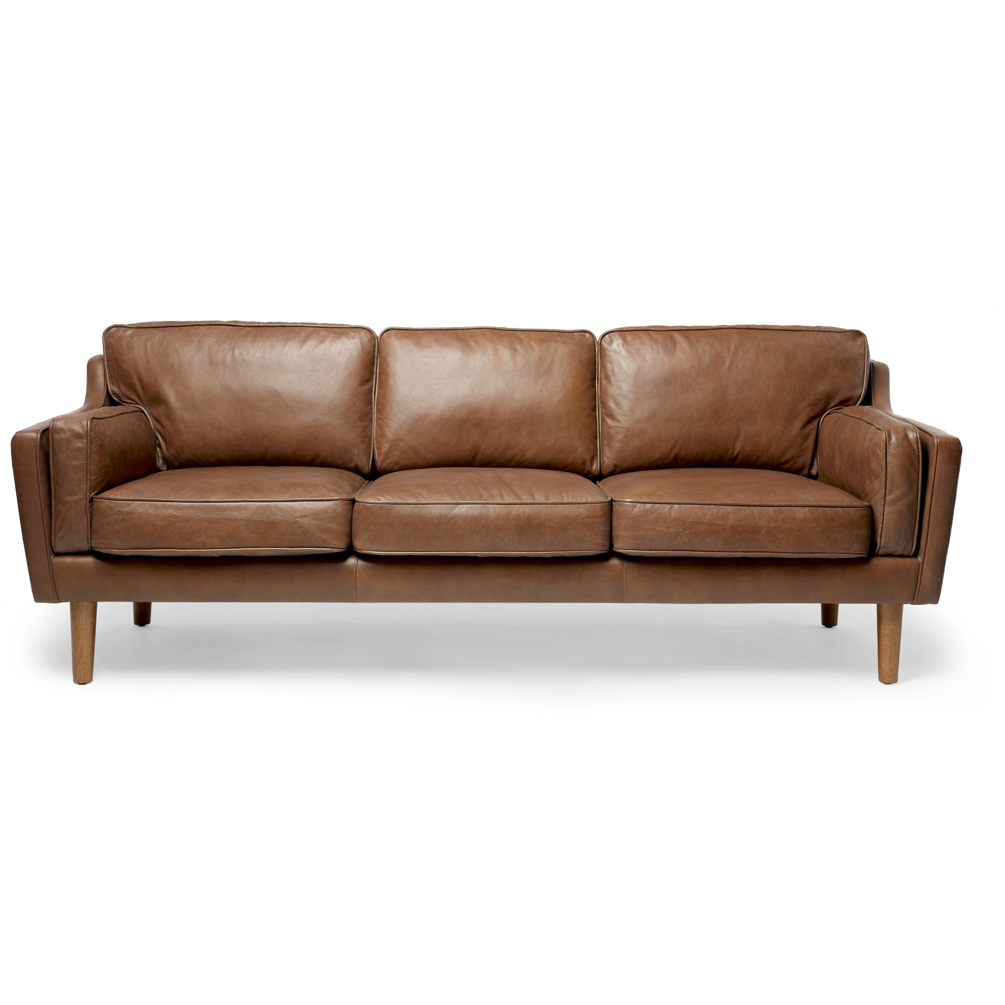 Shop Jasper Laine Beatnik Oxford Leather Tan Sofa   Free Shipping Today    Overstock.com   8117559