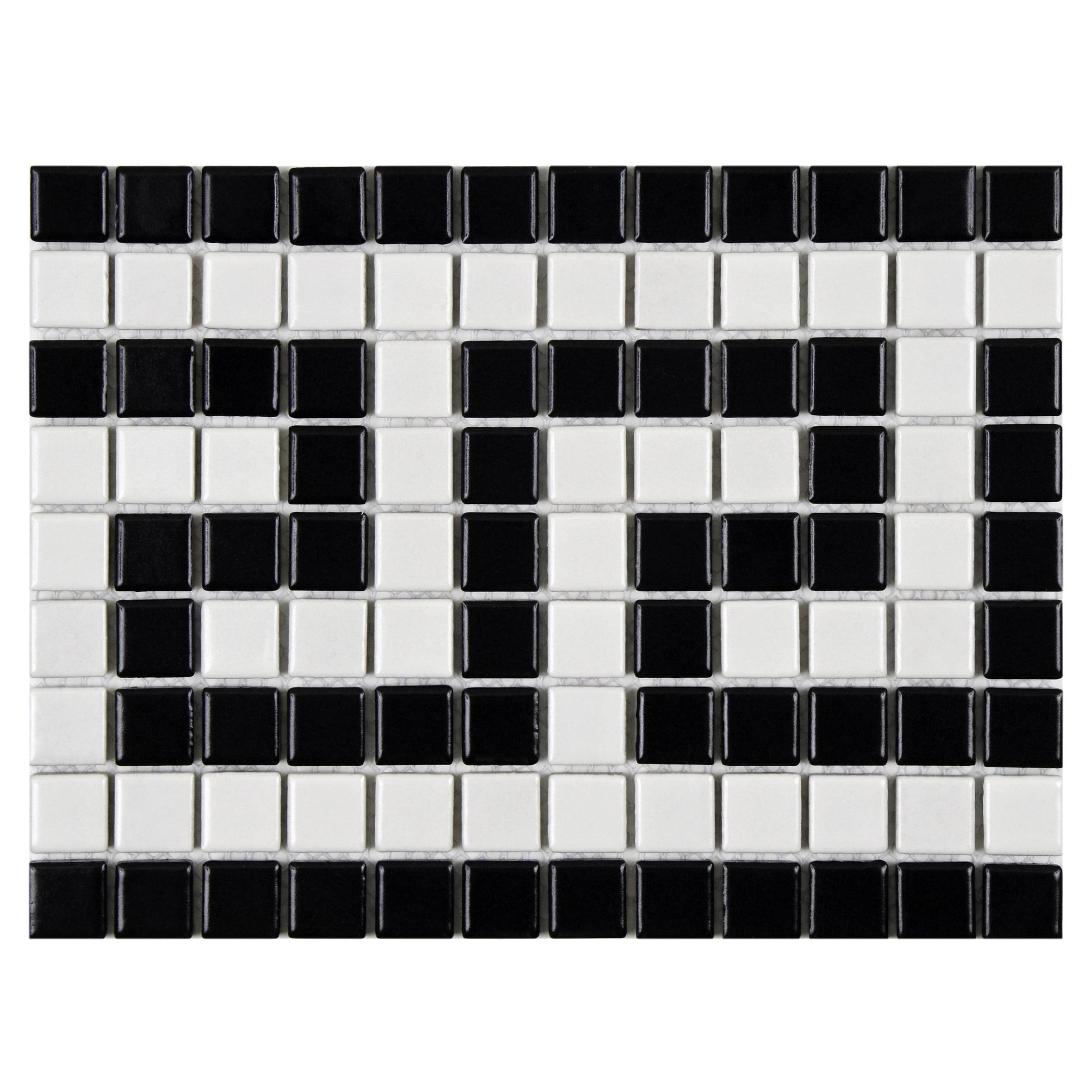Shop SomerTile 8x10.5-inch Victorian Greek Key Matte White and Black ...