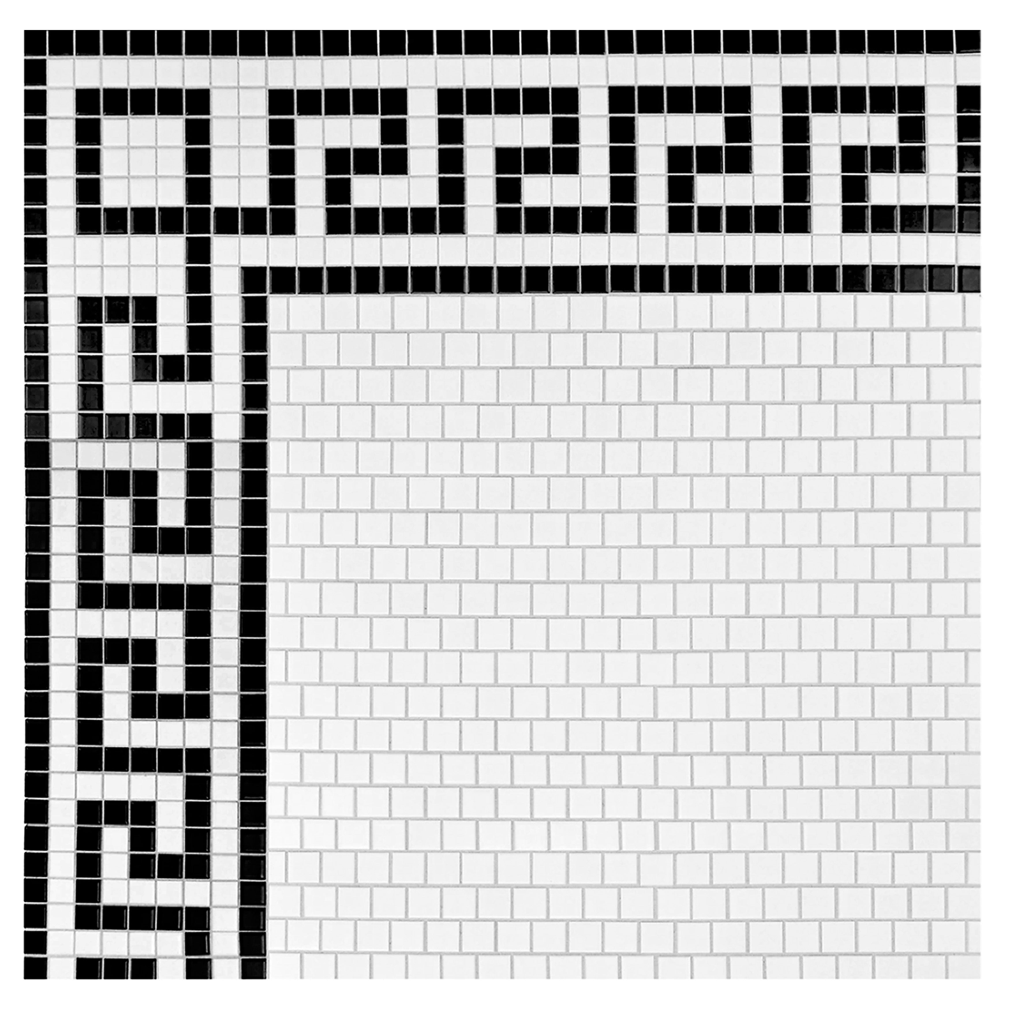 Somertile 8x10 5 Inch Metro Greek Key Matte White And Black Border Porcelain Mosaic Floor Wall Free Shipping Today 15466319