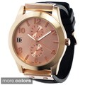 Geneva Women's Platinum Silicone Watch with Rose-Tone Dial