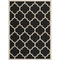 Safavieh Courtyard Moroccan Pattern Black/ Beige Indoor/ Outdoor Rug (5'3 x 7'7)
