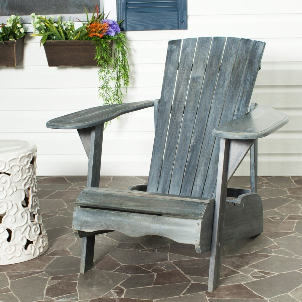 Safavieh Outdoor Living Mopani Adirondack Ash Grey Acacia Wood Chair   Free  Shipping Today   Overstock   15466978