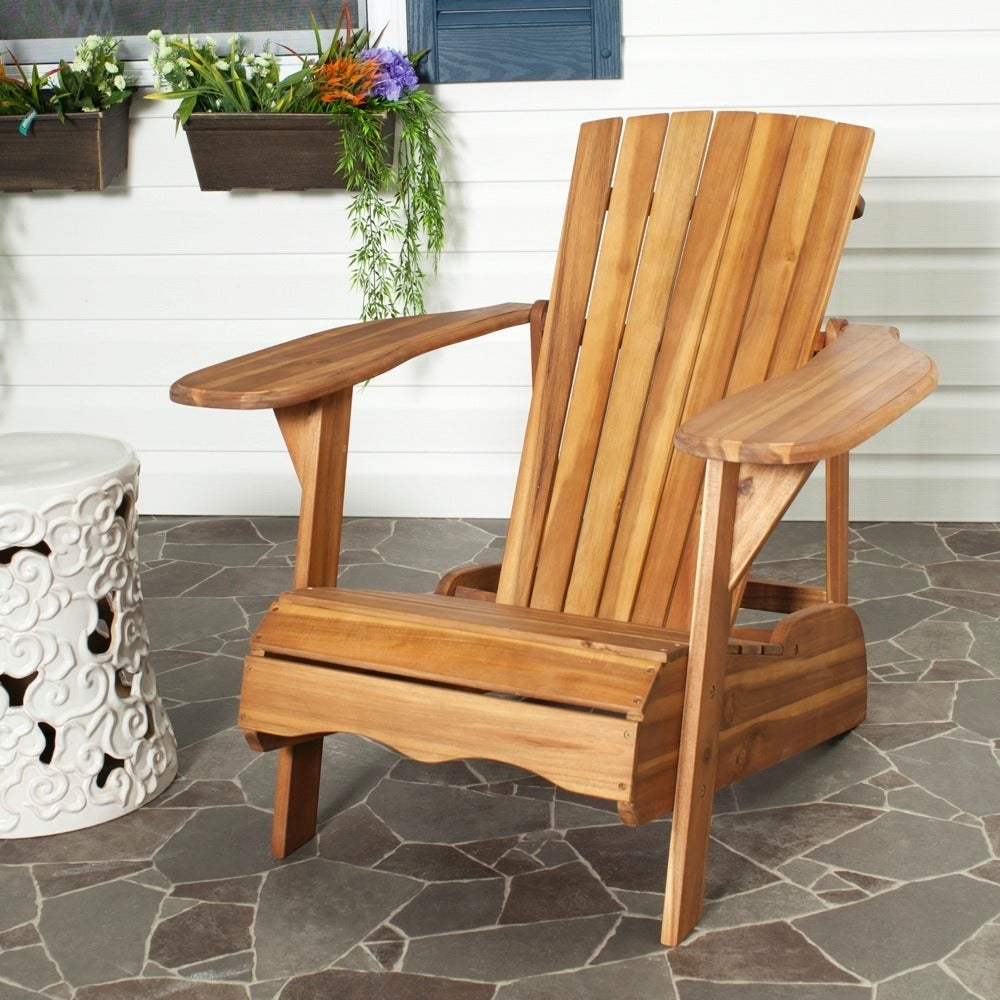 Safavieh Outdoor Living Mopani Adirondack Natural Acacia Wood Chair   Free  Shipping Today   Overstock.com   15466977