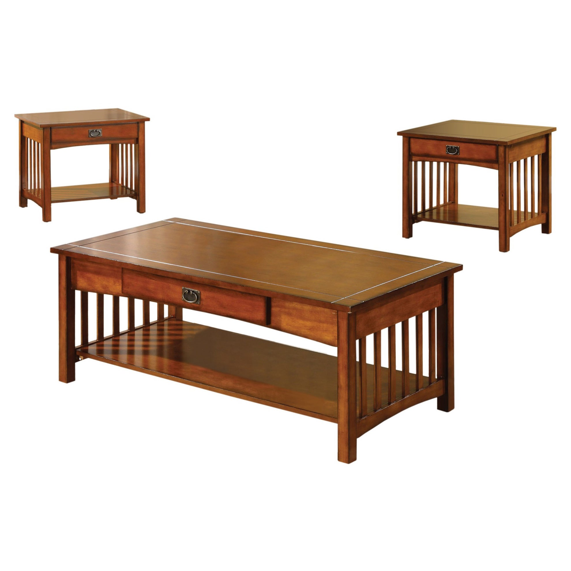 Shop furniture of america nash mission style 3 piece antique oak finish coffee table set on sale free shipping today overstock com 8126010
