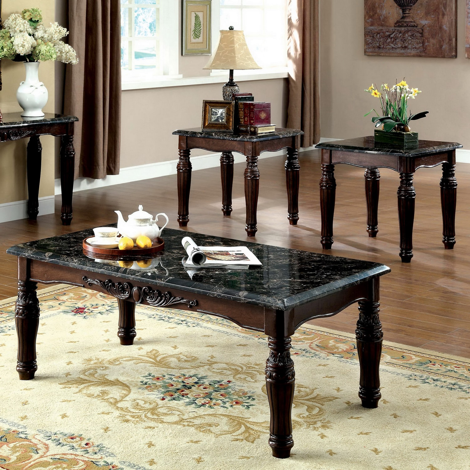 Furniture of America Saxton 3 piece Faux Marble Top Coffee End