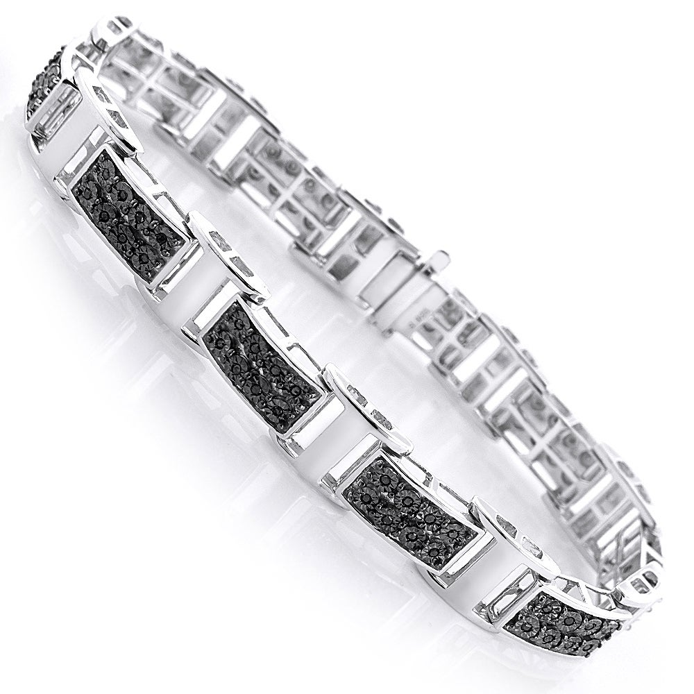 434238802742d Sterling Silver Men's 1/3ct TDW Black Diamond Bracelet