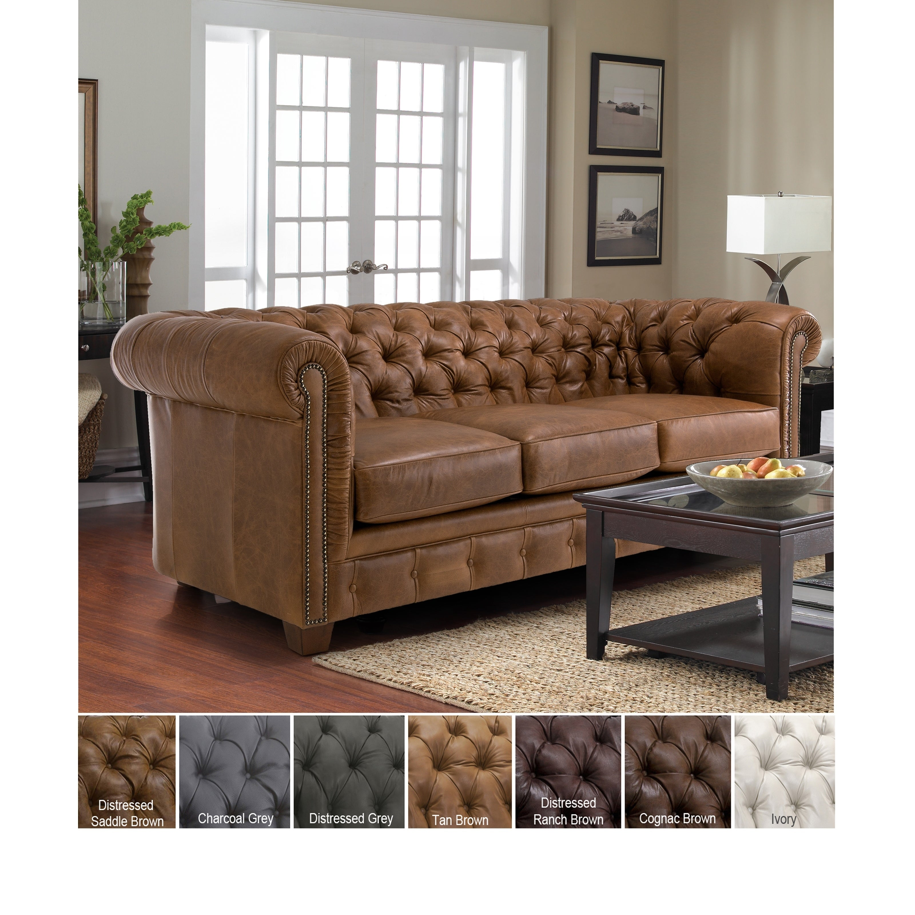Han Tufted Top Grain Italian Leather Chesterfield Sofa On Free Shipping Today 8126984