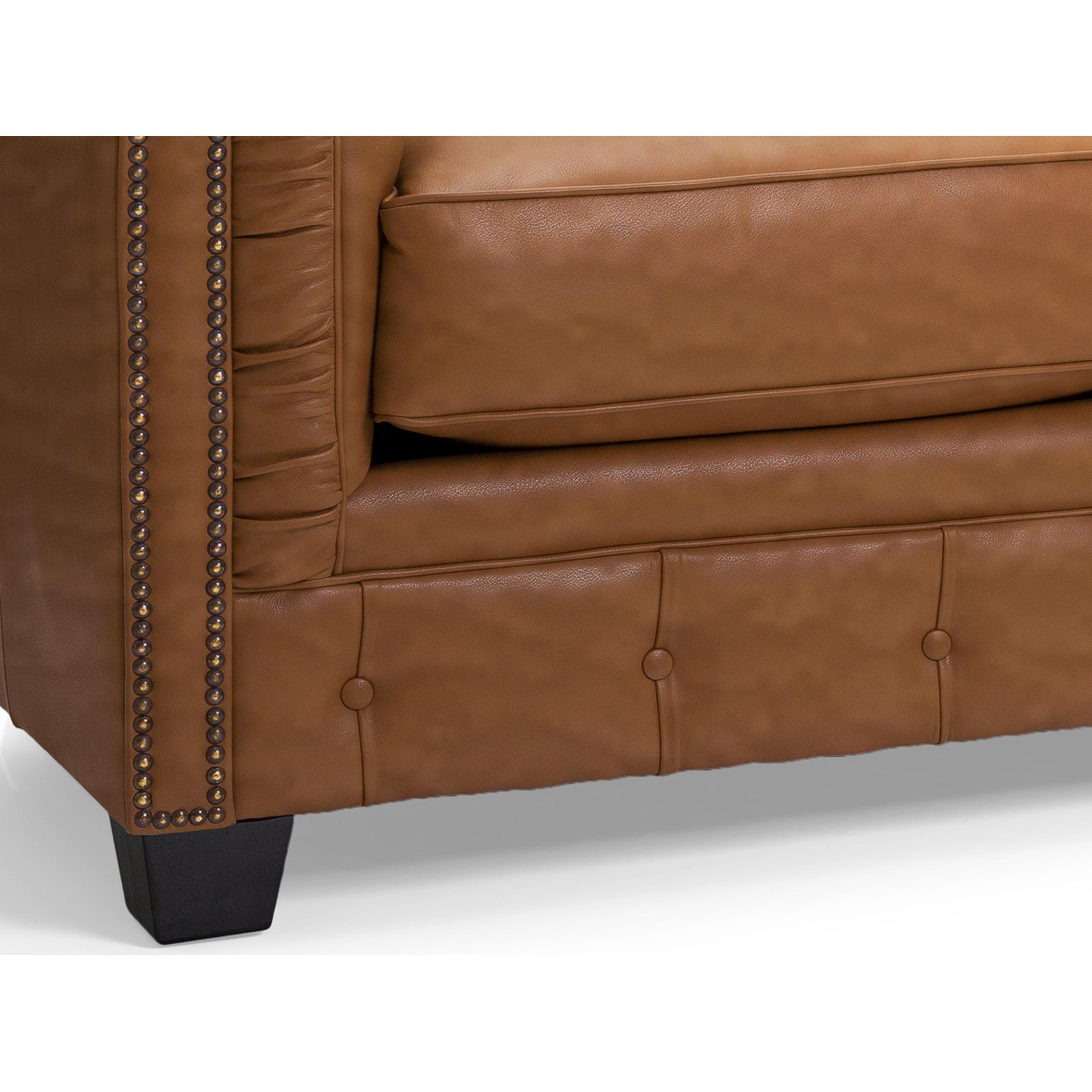 Shop Hancock Tufted Top Grain Italian Leather Chesterfield Sofa On