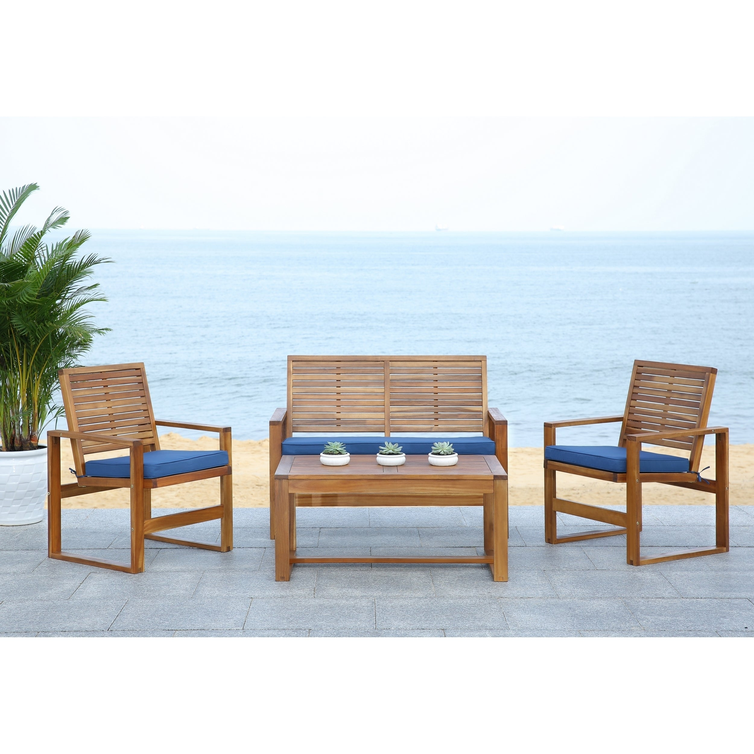 Shop Safavieh Outdoor Living Ozark Brown/ Navy Acacia Wood 4 Piece Patio Set    Free Shipping Today   Overstock.com   8130017