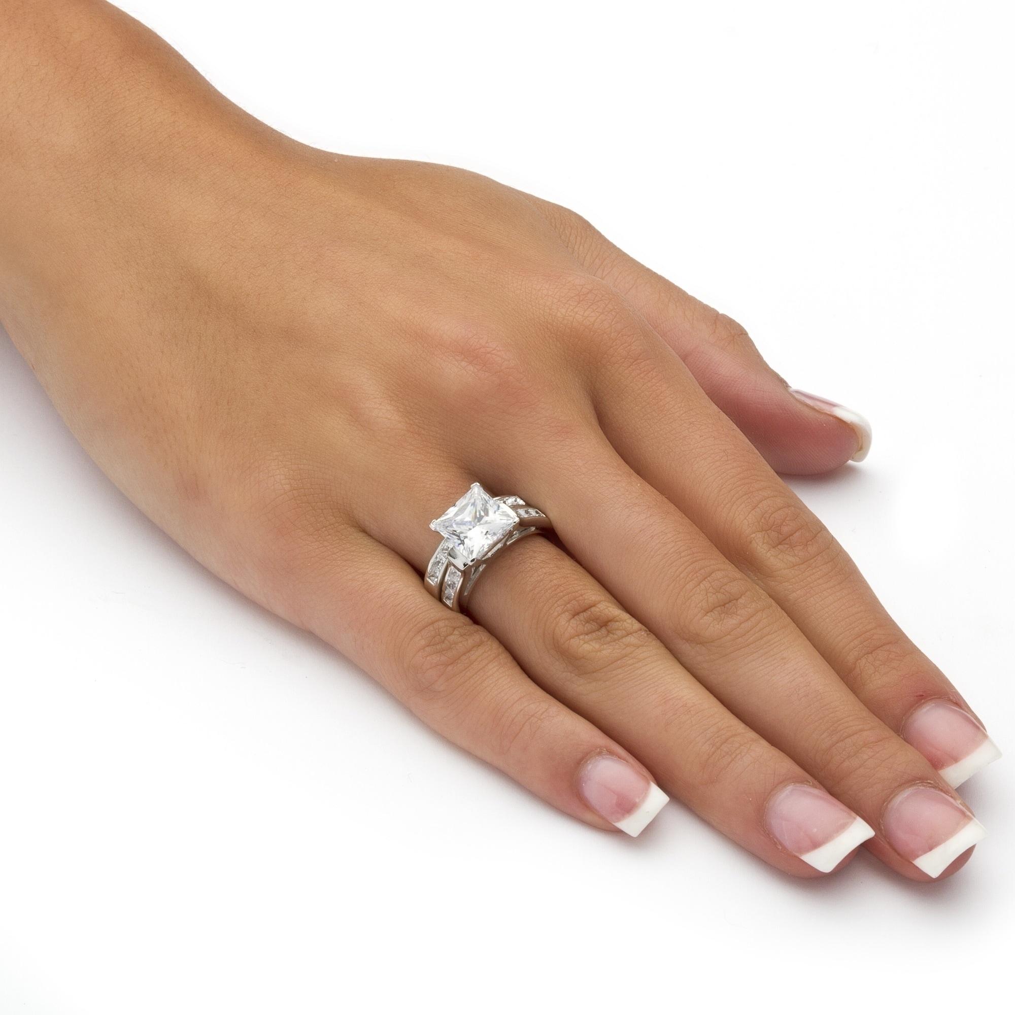 Shop Platinum Over Sterling Silver Cubic Zirconia Bridal Ring Set
