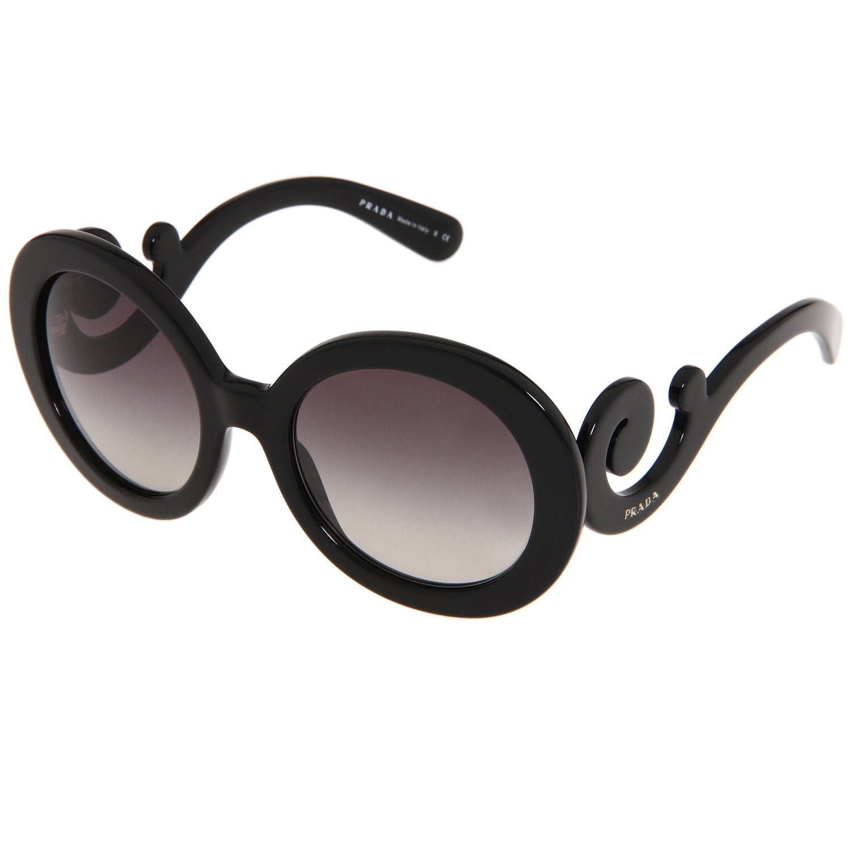 6956b1516755e Shop Prada Women s PR 27NS Black Minimal-baroque Round Sunglasses ...