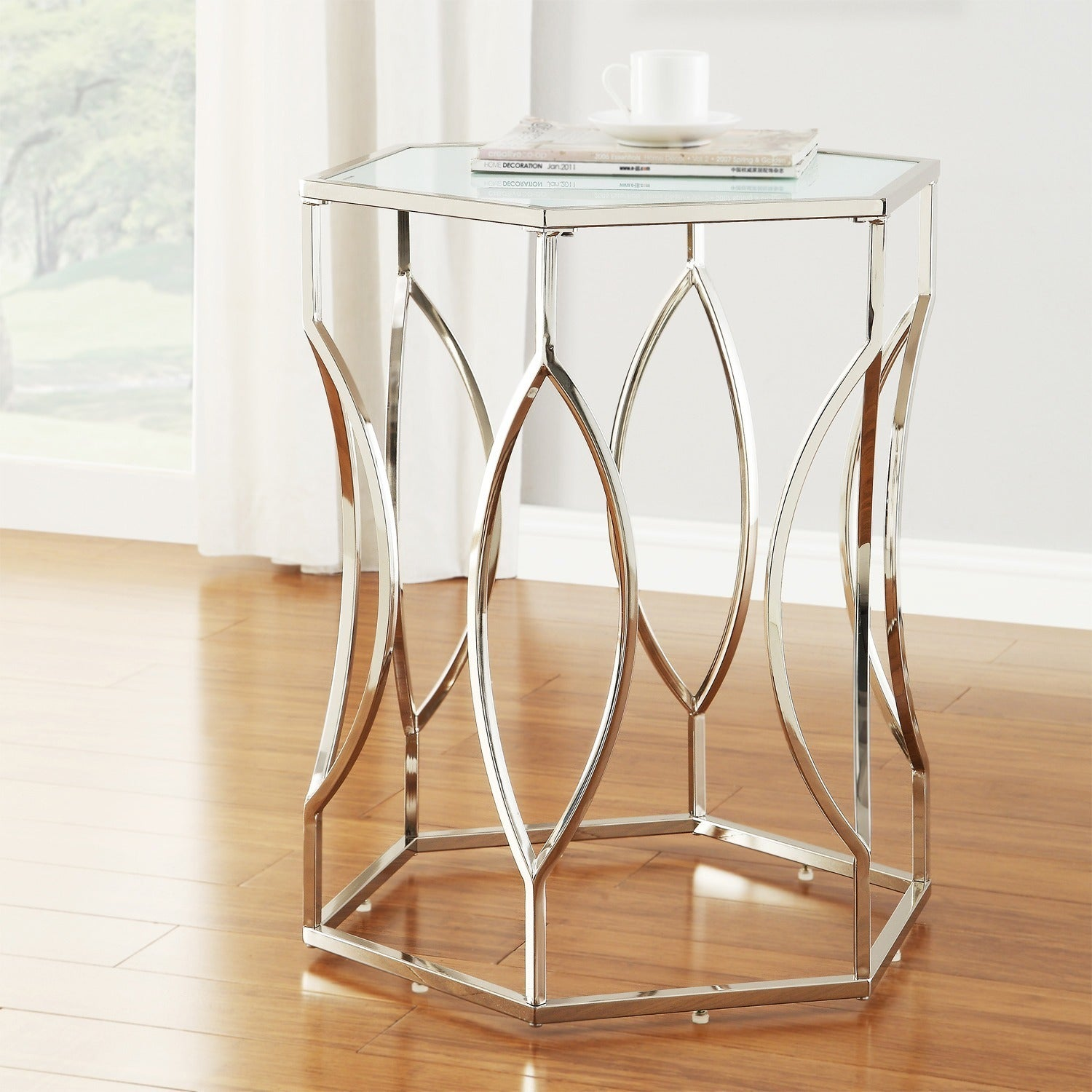 Davlin Hexagonal Metal Frosted Gl Accent End Table By Inspire Q Bold Free Shipping Today 8140965
