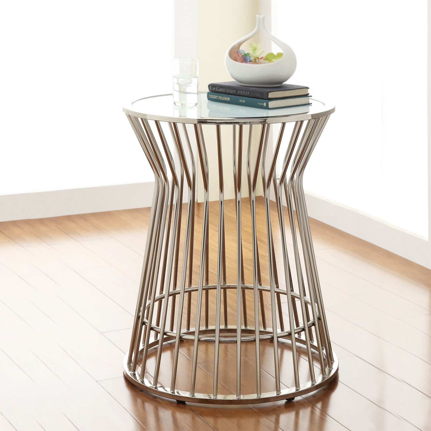 cyril contemporary glam metal frosted glass drum accent table by inspire qbold  free shipping today  overstockcom  . cyril contemporary glam metal frosted glass drum accent table by