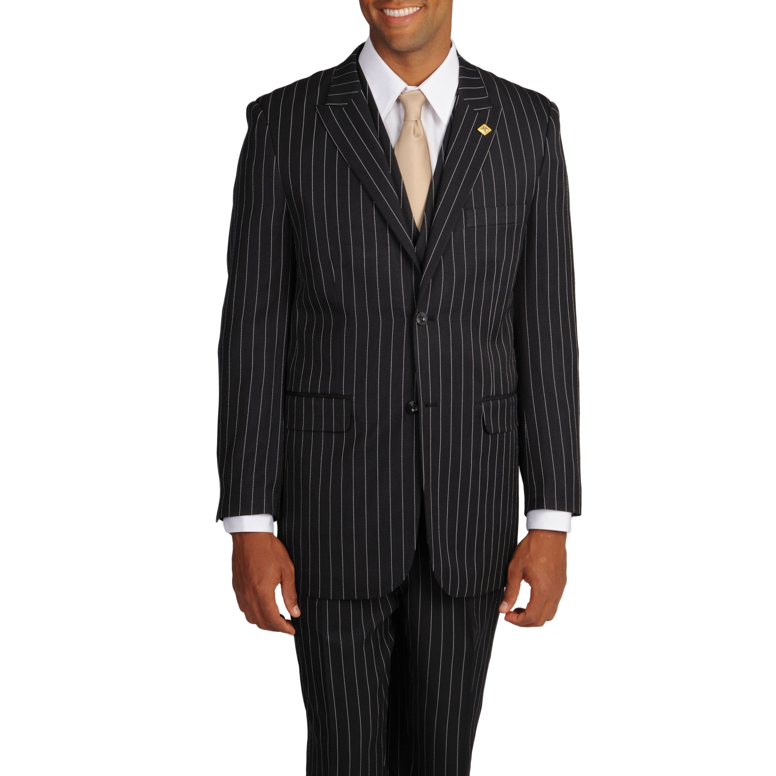 579385a5b21 Shop Stacy Adams Men s Black White Stripe 3-piece Suit - Free Shipping  Today - Overstock - 8144003