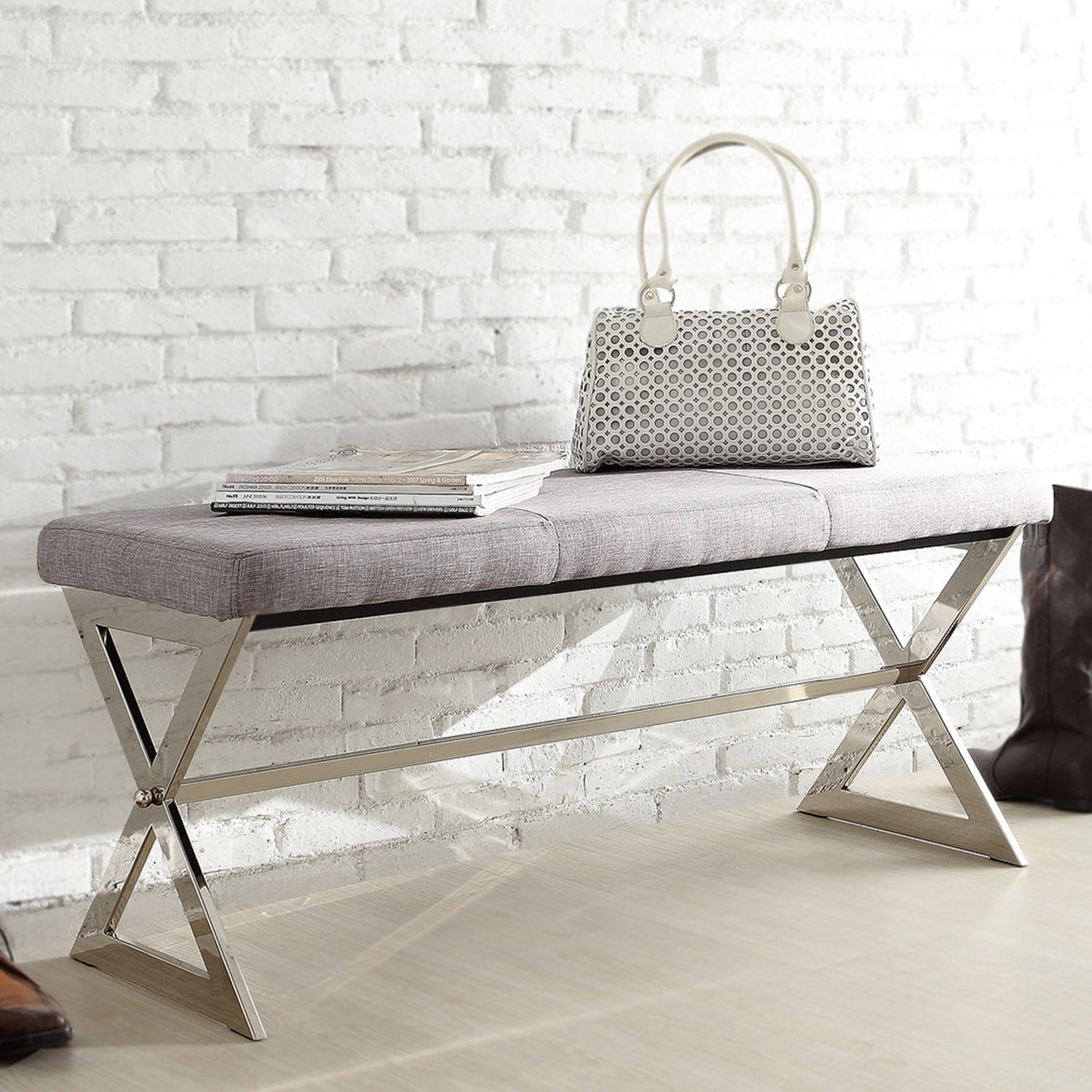 Southport Linen 40-inch Chrome Finish Metal Bench by iNSPIRE Q Bold - Free  Shipping Today - Overstock.com - 15502644