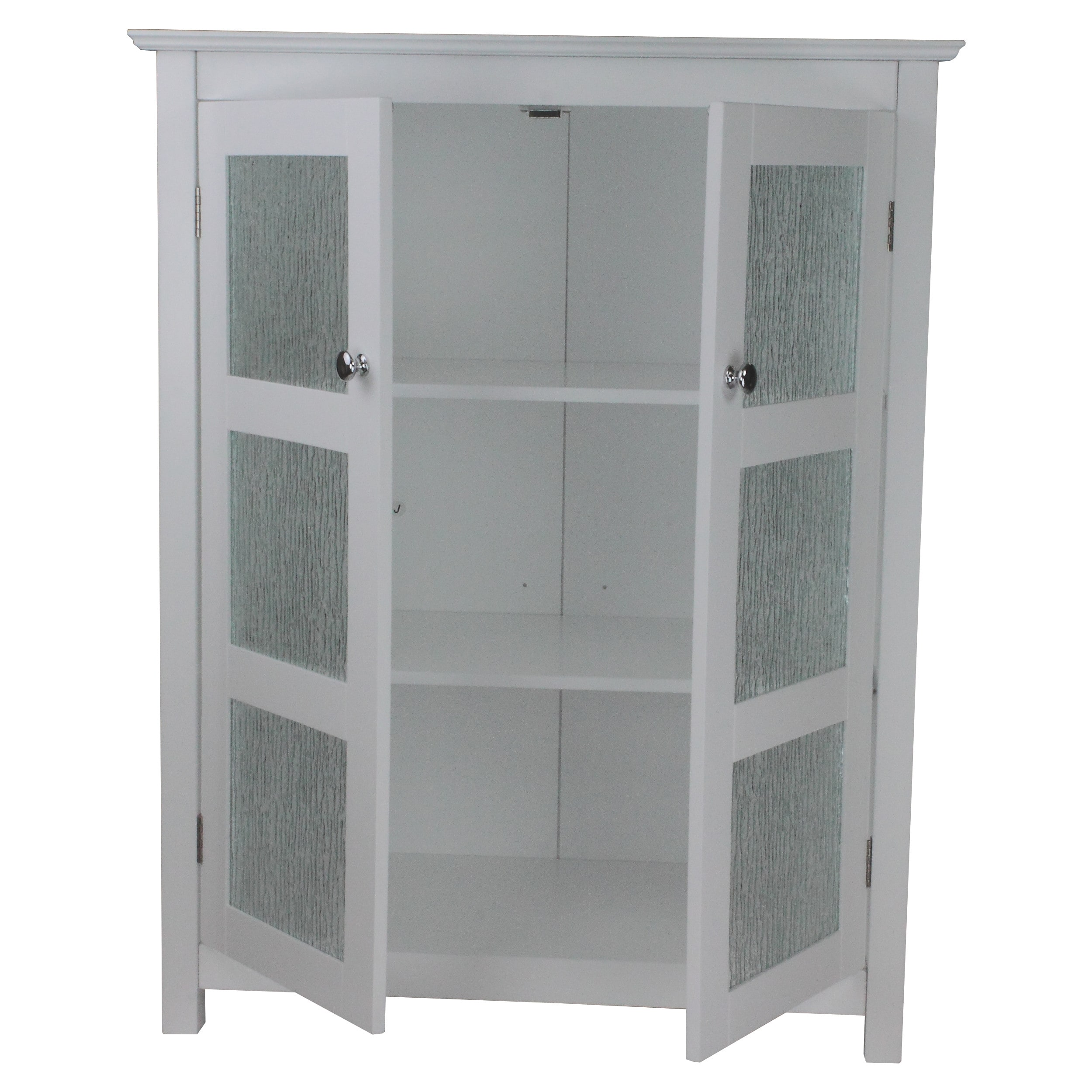 Shop Highland White Double Glass Door Floor Cabinet By Elegant Home