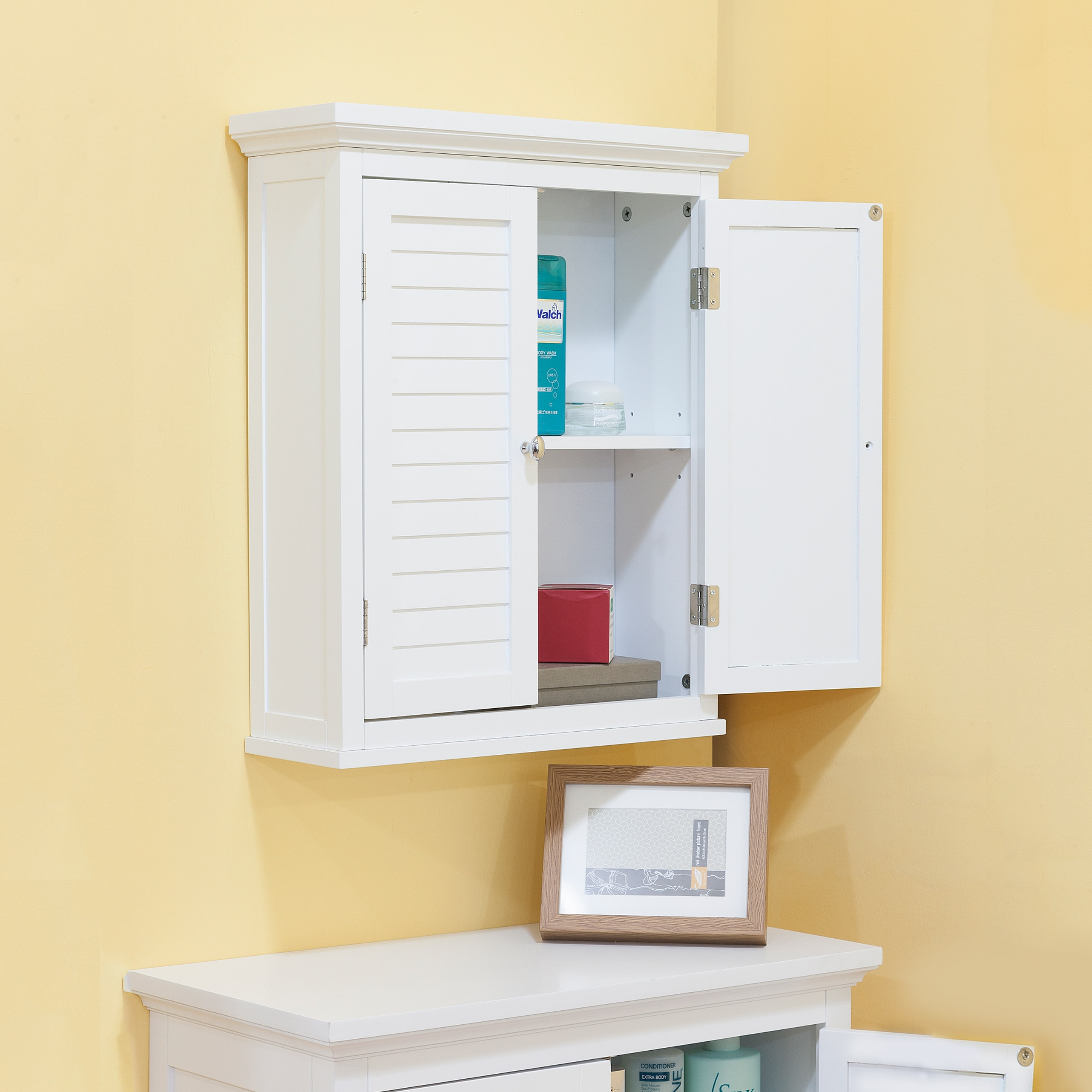 Shop Bayfield White Finish Cabinet With Shutter Doors by Elegant ...