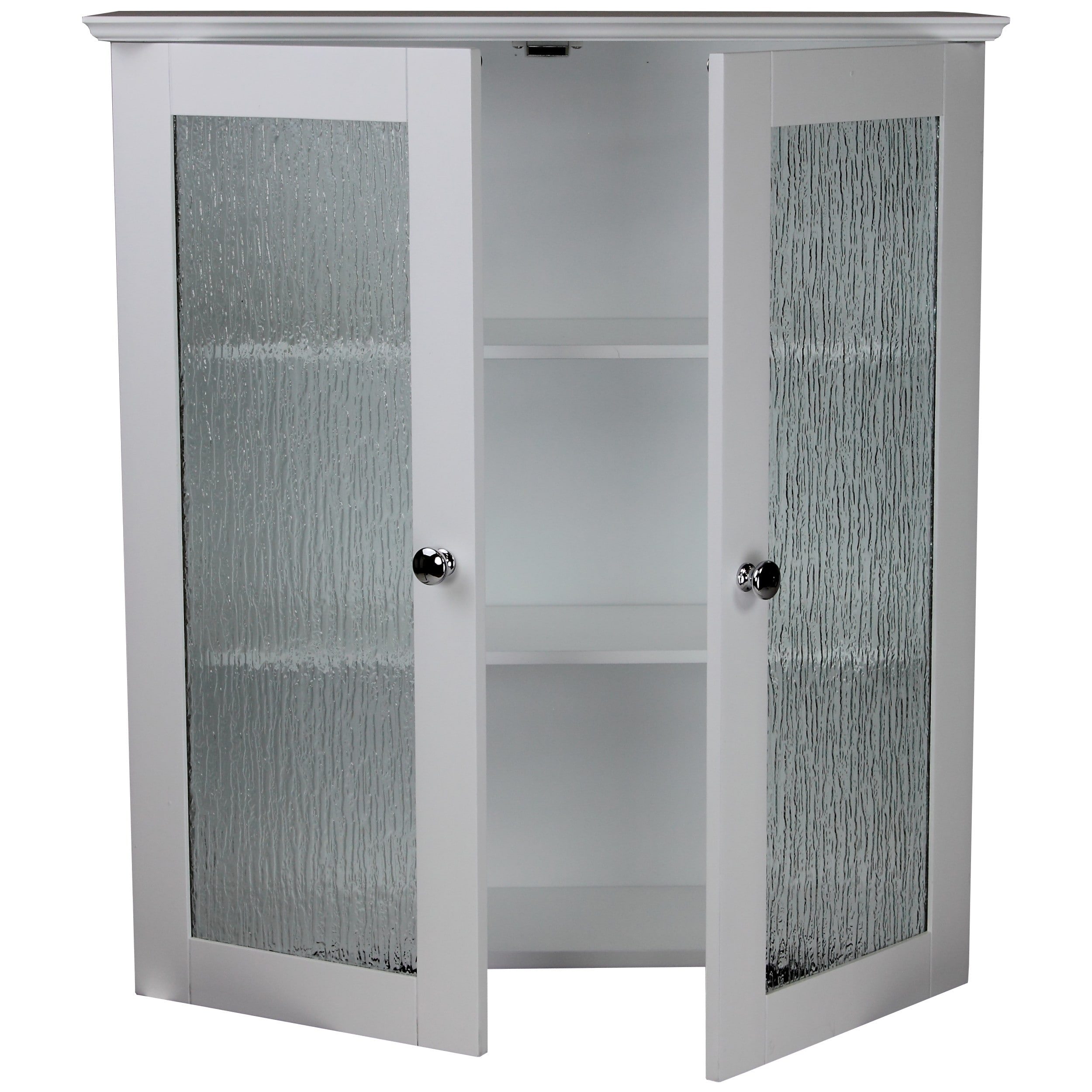 Shop Highland White Double Glass Door Wall Cabinet By Elegant Home