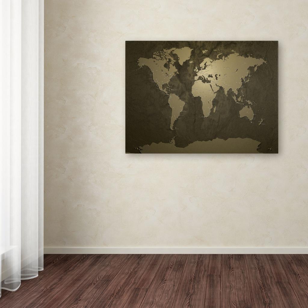 Gold World Map Wall Art.Shop Michael Tompsett Gold World Map Canvas Art Free Shipping