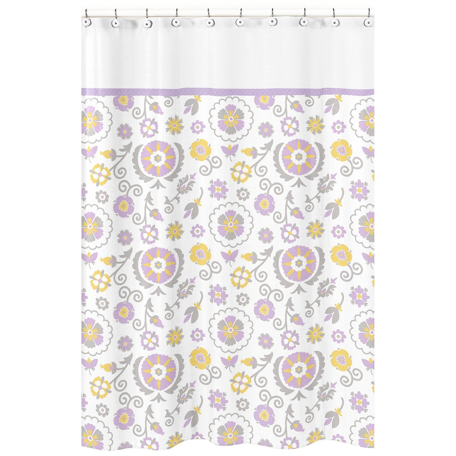 Shop Sweet Jojo Designs Suzanna Lavender And White Shower Curtain
