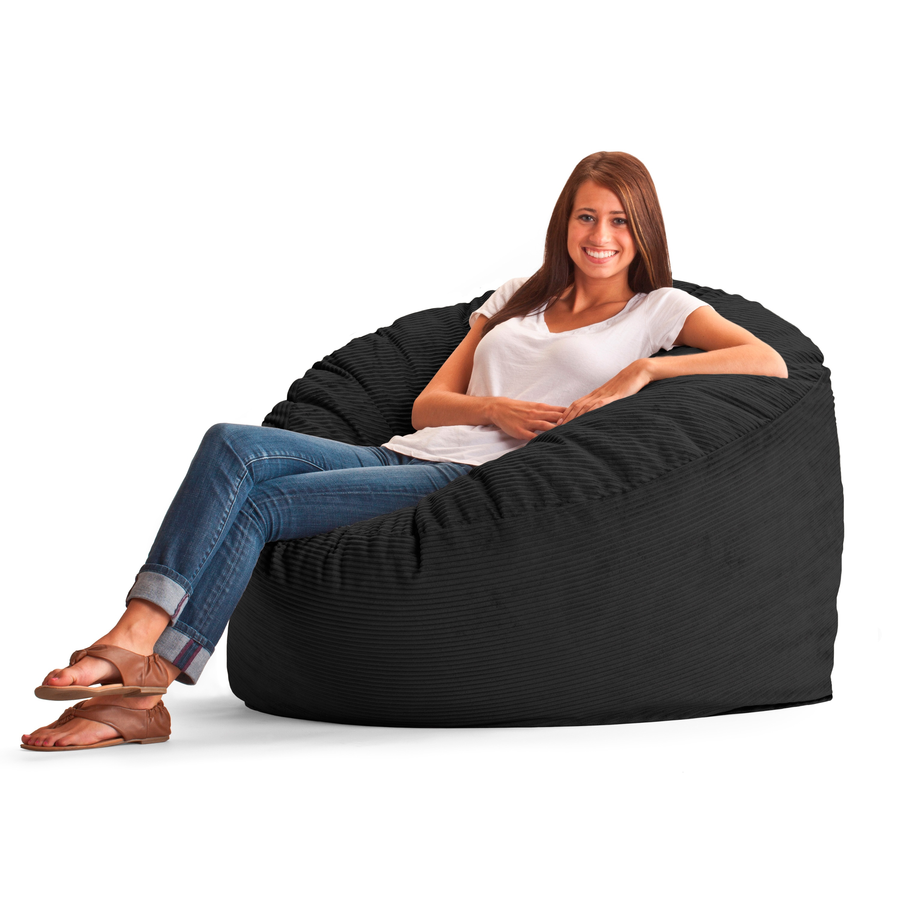 FufSack Wide Wale Corduroy 4-foot Large Bean Bag Chair - Free Shipping  Today - Overstock.com - 15503546