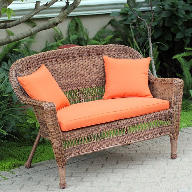 Shop Honey Wicker Patio Loveseat With Cushion And Pillows   Free Shipping  Today   Overstock.com   8166189