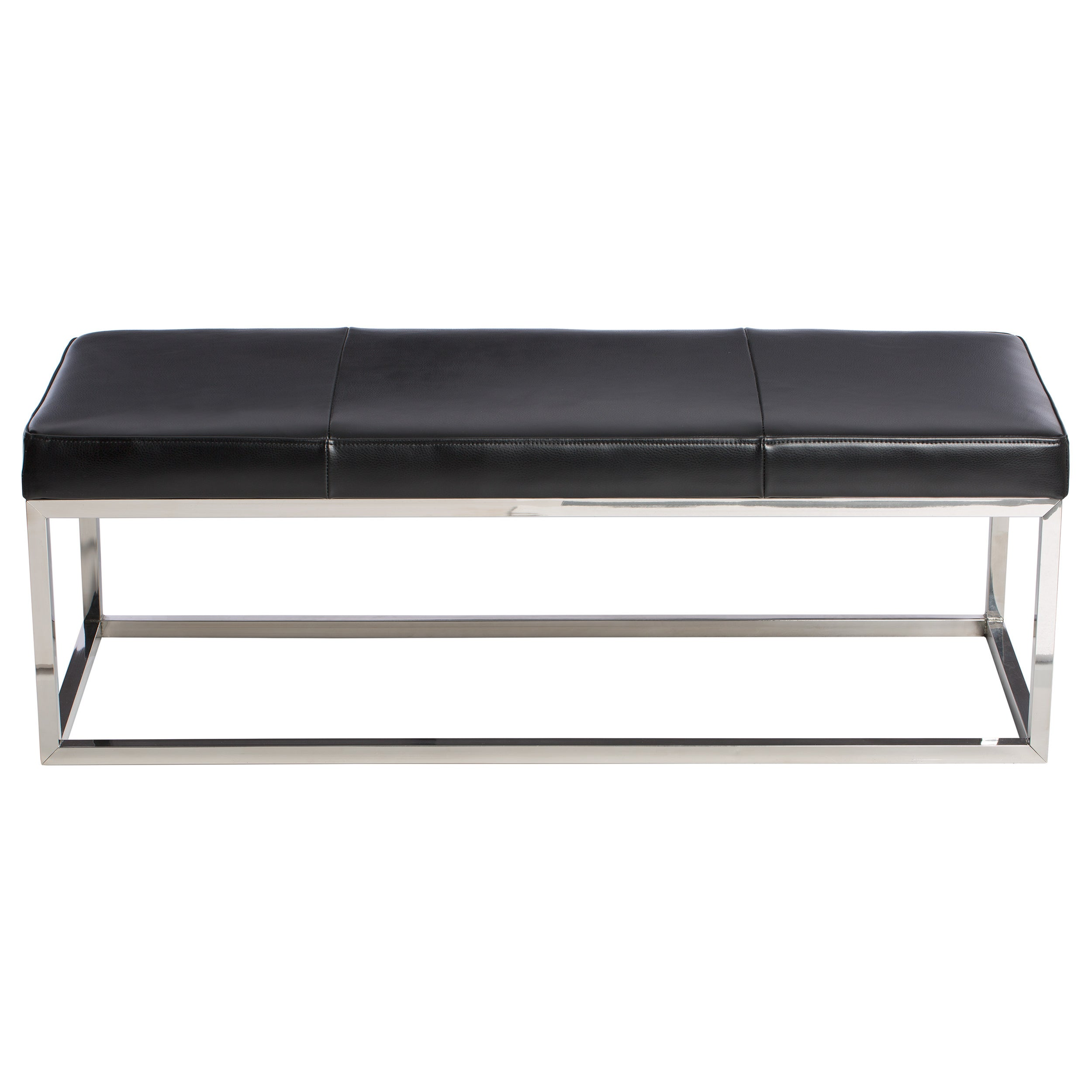 manhattan black and stainless steel modern leather bench  free shippingtoday  overstockcom  . manhattan black and stainless steel modern leather bench  free