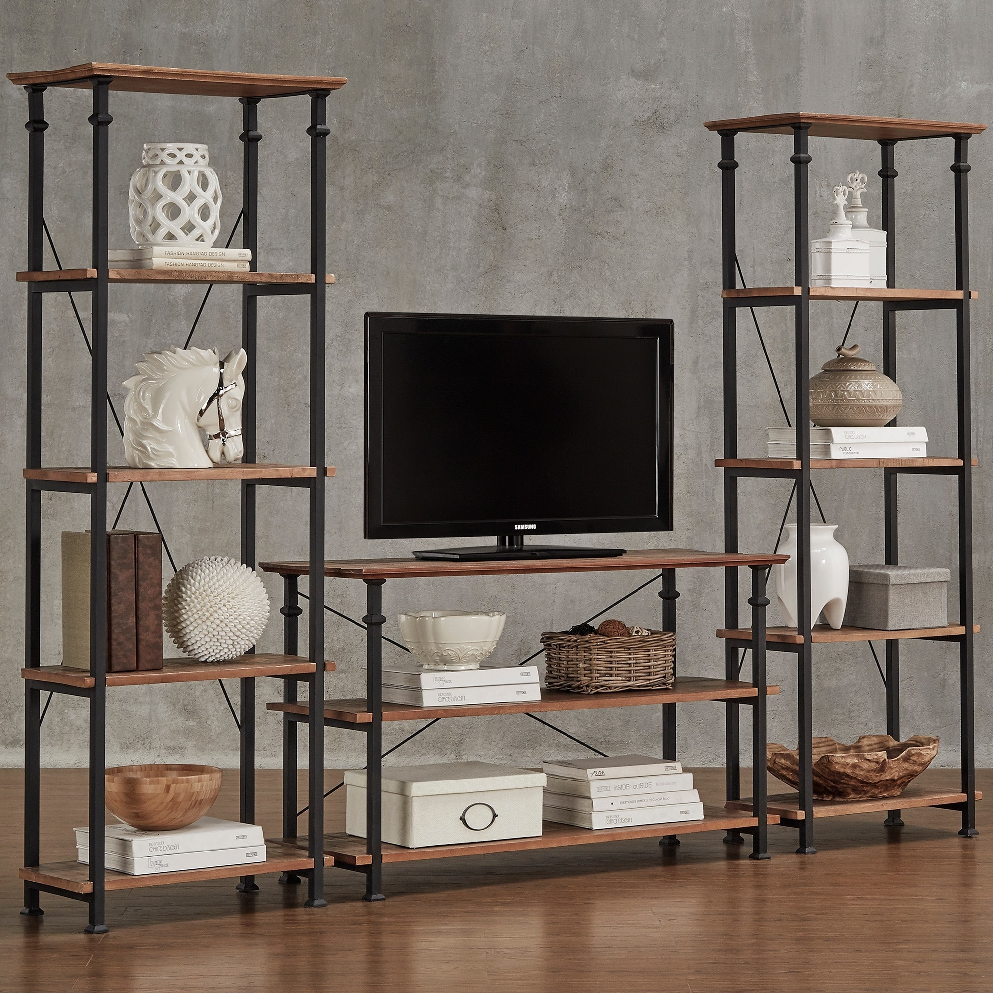 Shop Myra Vintage Industrial Modern Rustic 3 Piece Tv Stand Set By