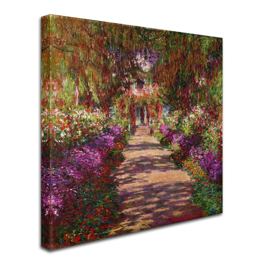 Shop Claude Monet \'A Pathway in Monet\'s Garden\' Canvas Art - Multi ...