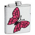 Top Shelf 6-Ounce Rhinestone Butterfly Hip Flask