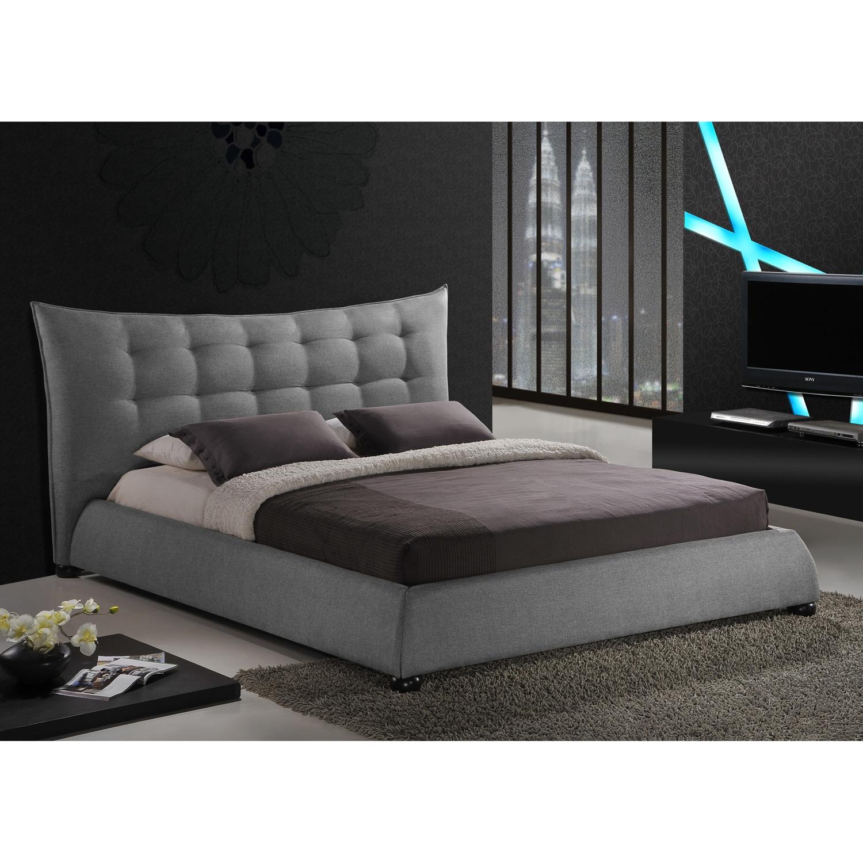 Shop Baxton Studio Marguerite Grey Linen Modern Platform Bed Free