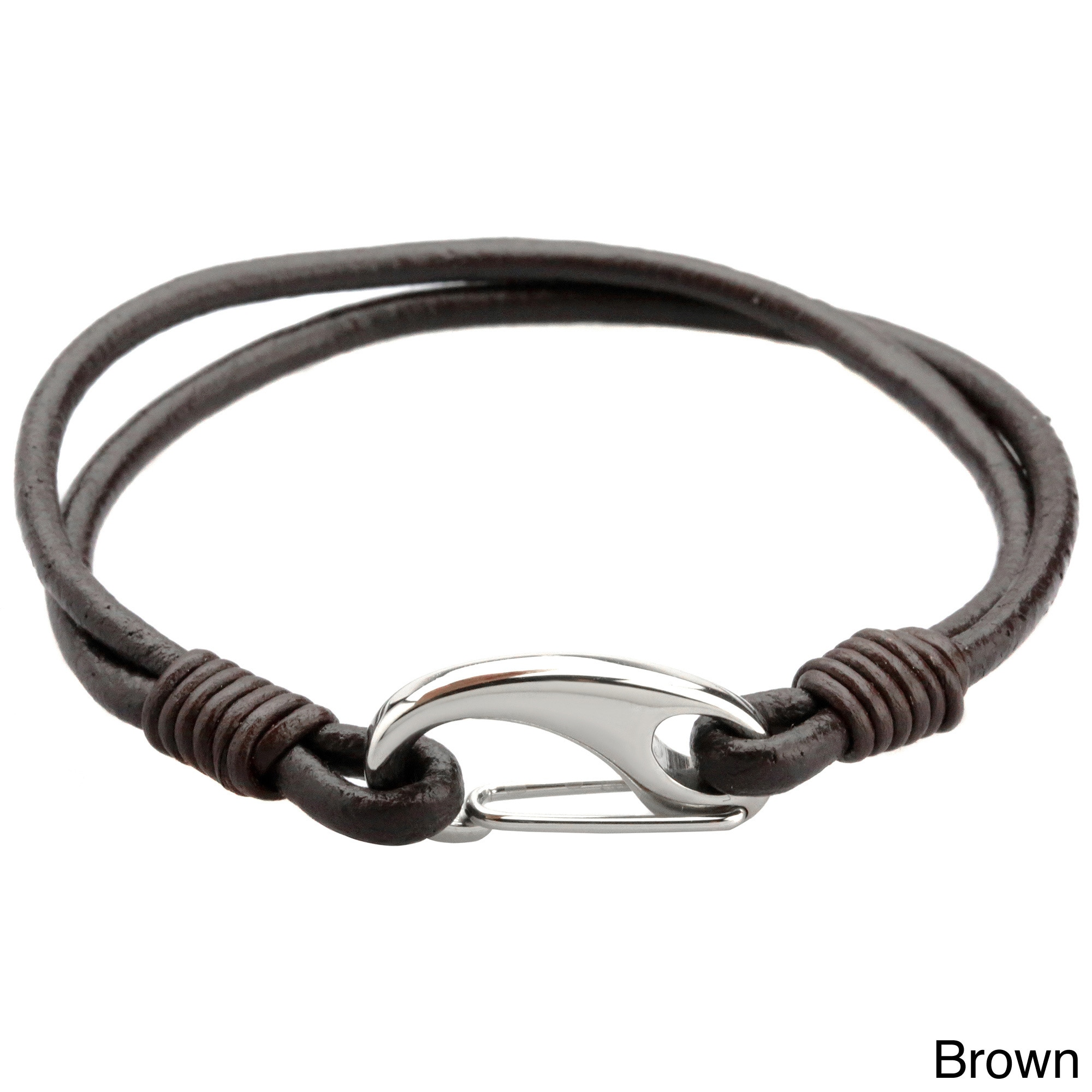 Stainless Steel and Leather Men s 8 inch Bracelet Free Shipping