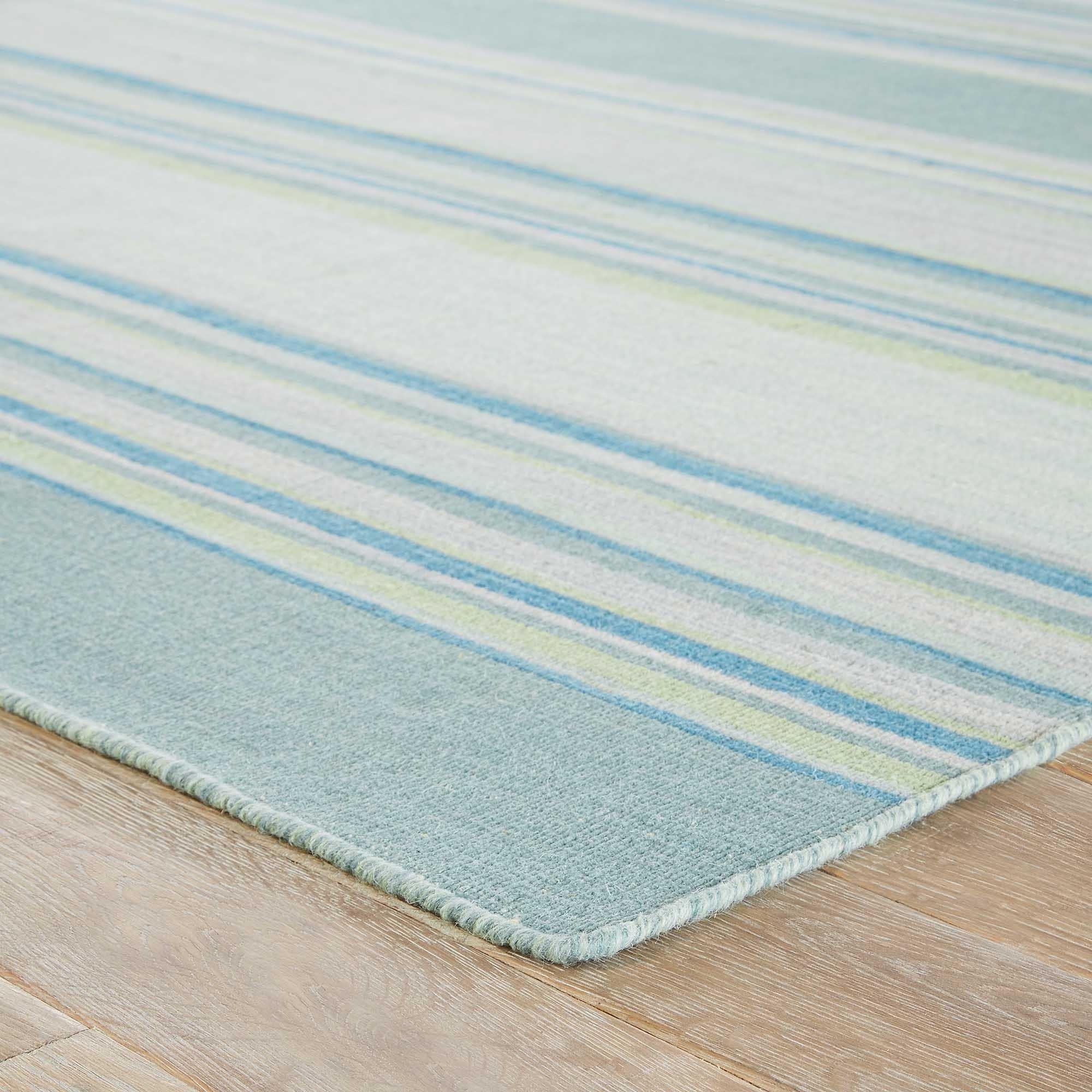 Camden Handmade Stripe Blue/ Turquoise Area Rug - 5\' x 8\' - Free ...