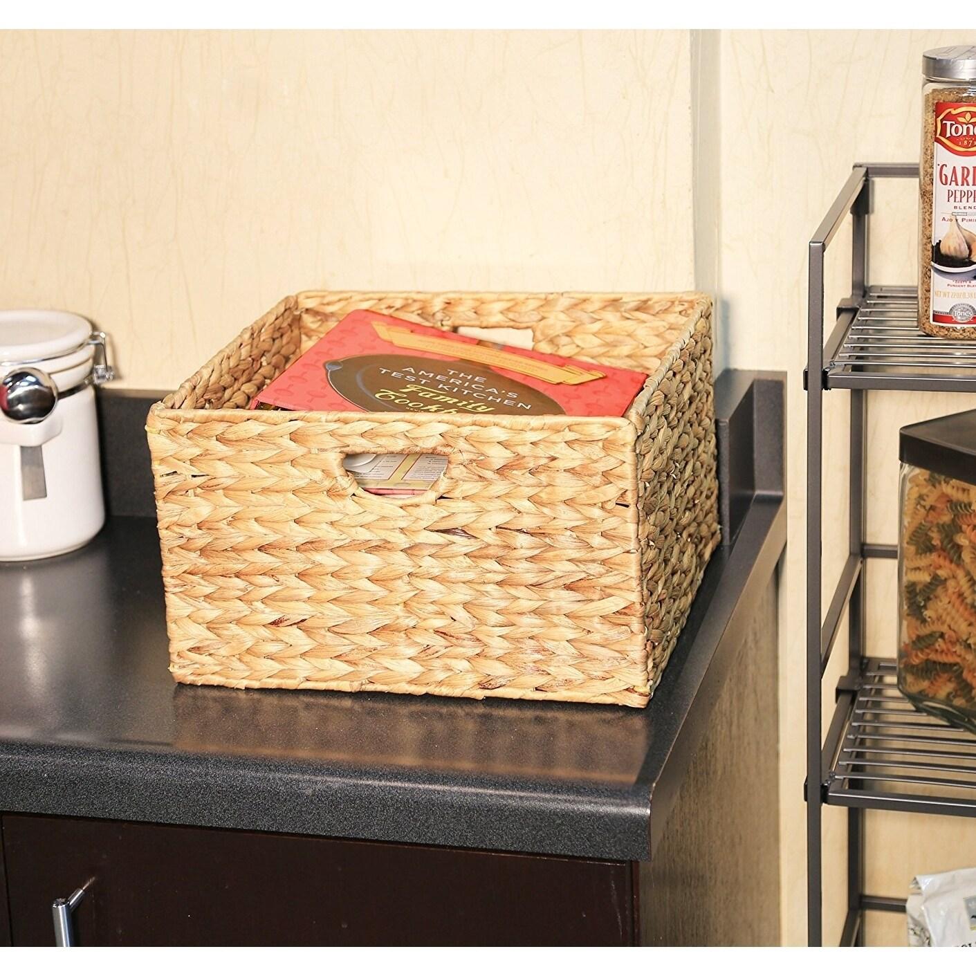 Shop Seville Classics Natural Hyacinth Woven Storage Cube Basket ...