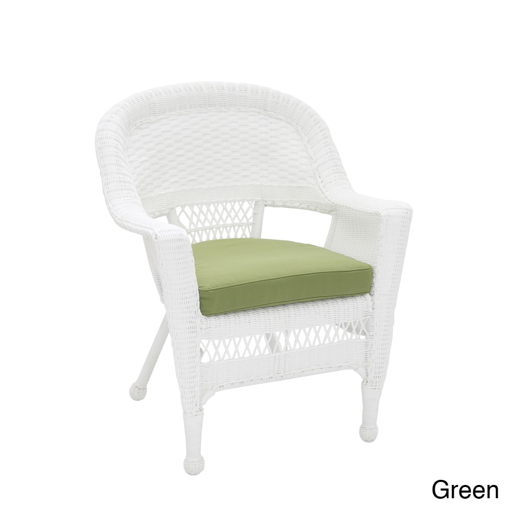 Shop White Wicker Chair With Cushion   Free Shipping Today   Overstock.com    8179151